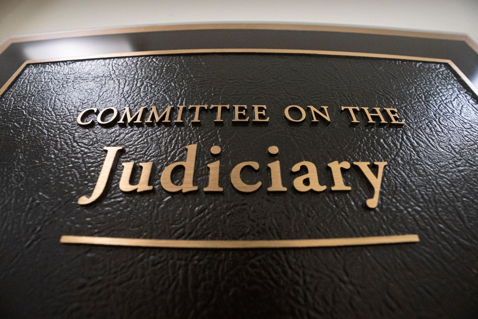 FILE - In this May 29, 2019 file photo, a sign at the office of the House Judiciary Committee is seen on Capitol Hill in Washington.{ } (AP Photo/J. Scott Applewhite)