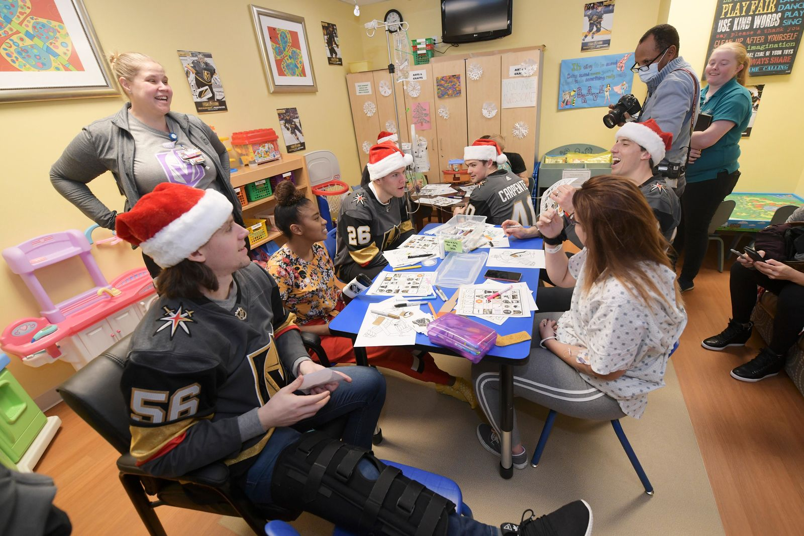 Vegas Golden Knights players visit with young patients and play bingo during a visit to Summerlin Hospital Friday, December 21, 2018. CREDIT: Sam Morris/Las Vegas News Bureau