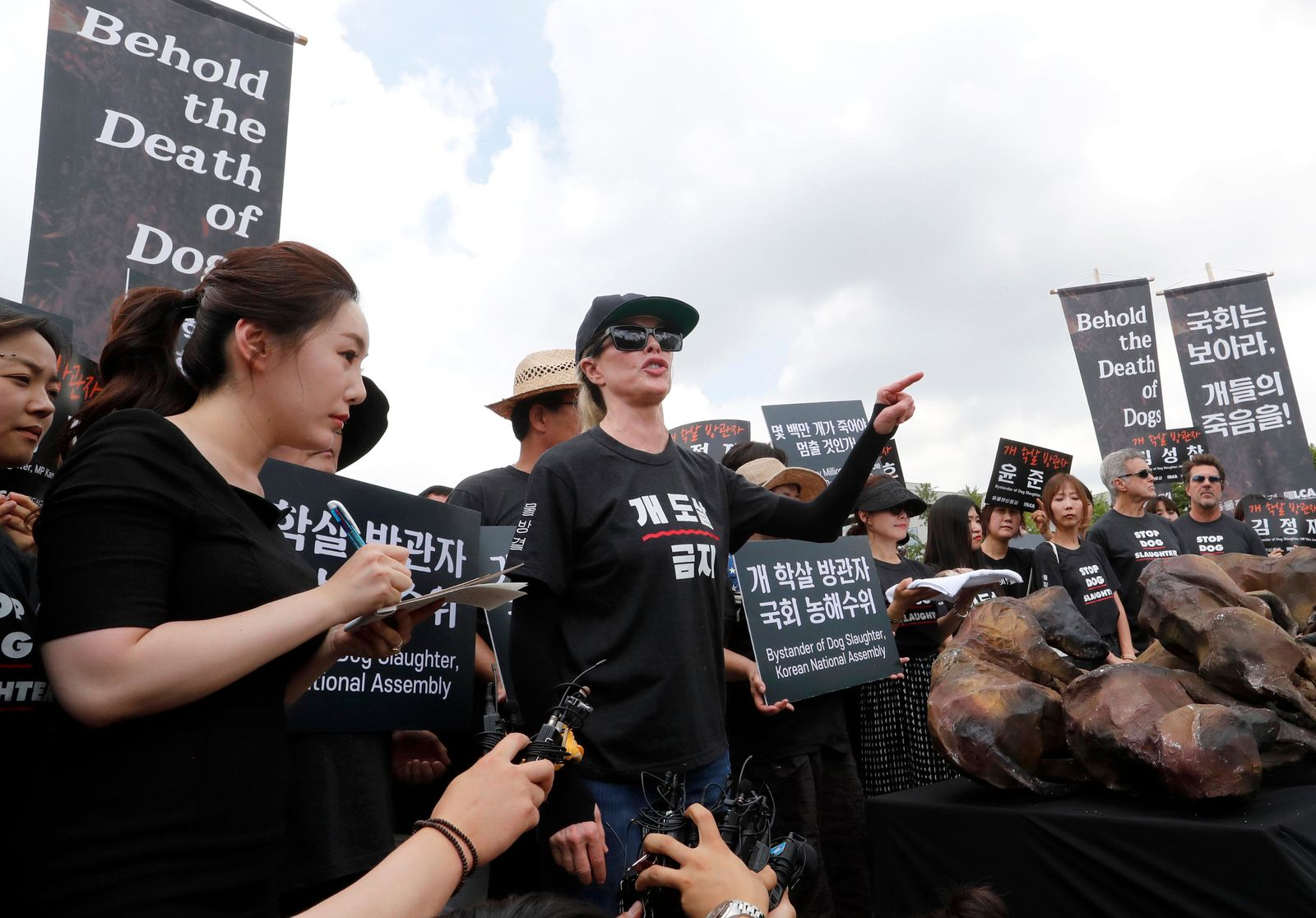 American actress Kim Basinger, center, speaks during a rally to oppose eating dog meat in front of the National Assembly in Seoul, South Korea, Friday, July 12, 2019. July 12 is the day South Koreans eat healthy foods such as dog meat in the belief it would help them survive heat during summer. (AP Photo/Ahn Young-joon)