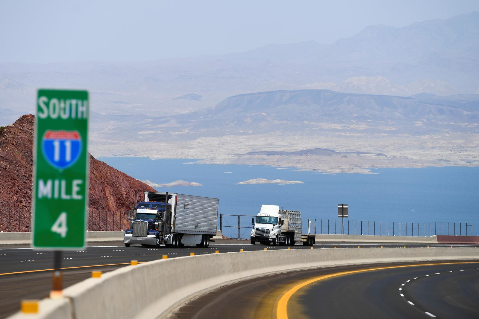 Traffic travels north on Interstate 11 after the grand opening of a new section of the highway Thursday, August 9, 2018, in Boulder City. The section, also referred to as the Boulder City Bypass, marks the official start of the I-11 project between Las Vegas and Phoenix. CREDIT: Sam Morris/Las Vegas News Bureau
