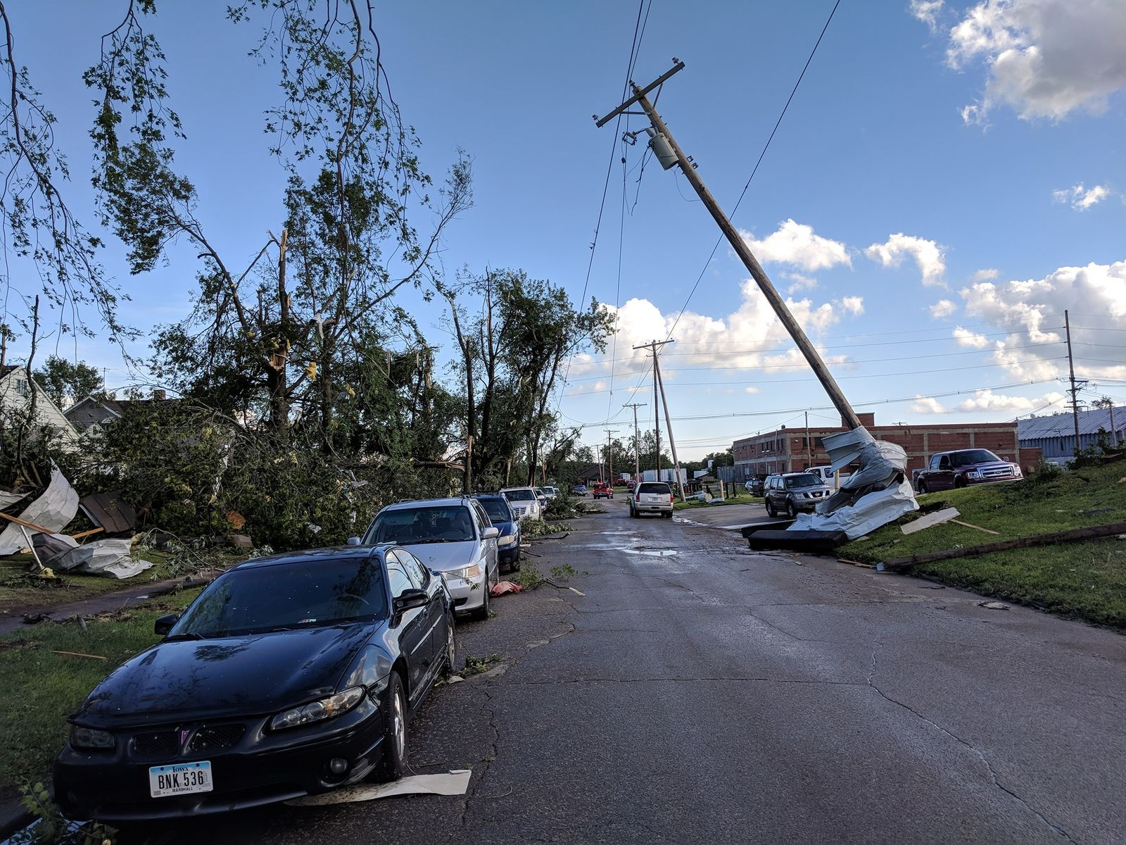 Damage from a tornado in Marshalltown on Thursday, July 19. (Photo: Nick Stewart, CBS2/FOX28)