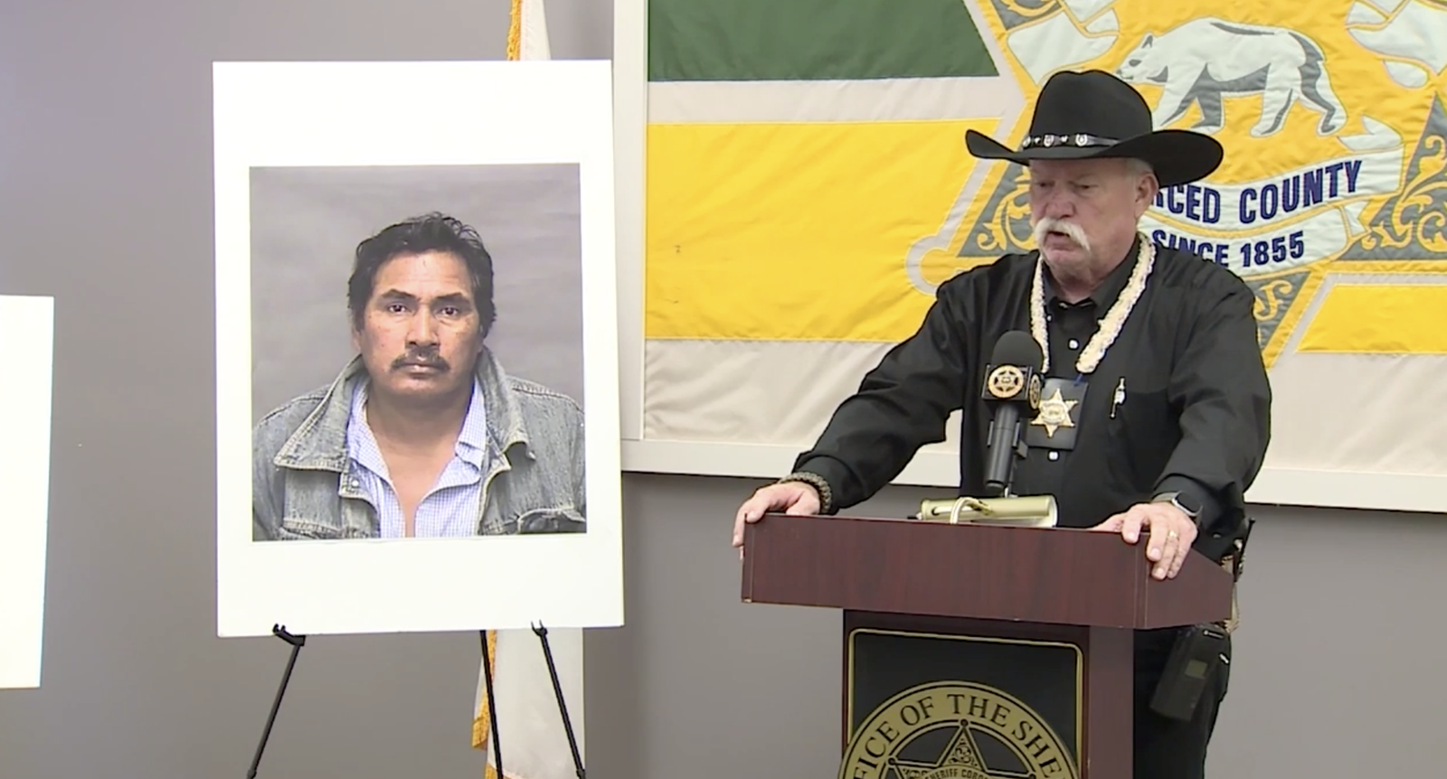 Merced County Sheriff Van Warnke speaks at a news conference regarding{ }Guadalupe Lopez-Herrera, who is an undocumented immigrant with a history of domestic violence. Authorities say he shot and injured a sheriff's deputy trying to arrest him. (Sinclair Broadcast Group)
