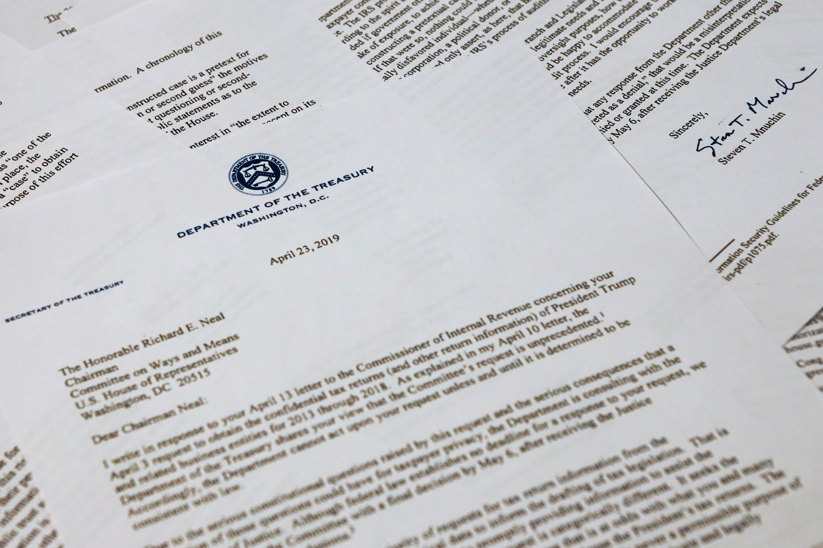 The letter from Treasury Secretary Steven Mnuchin to House Ways and Mean chairman Richard Neal of Mass., is photographed Tuesday, April 23, 2019, in Washington. (AP Photo/Jon Elswick)