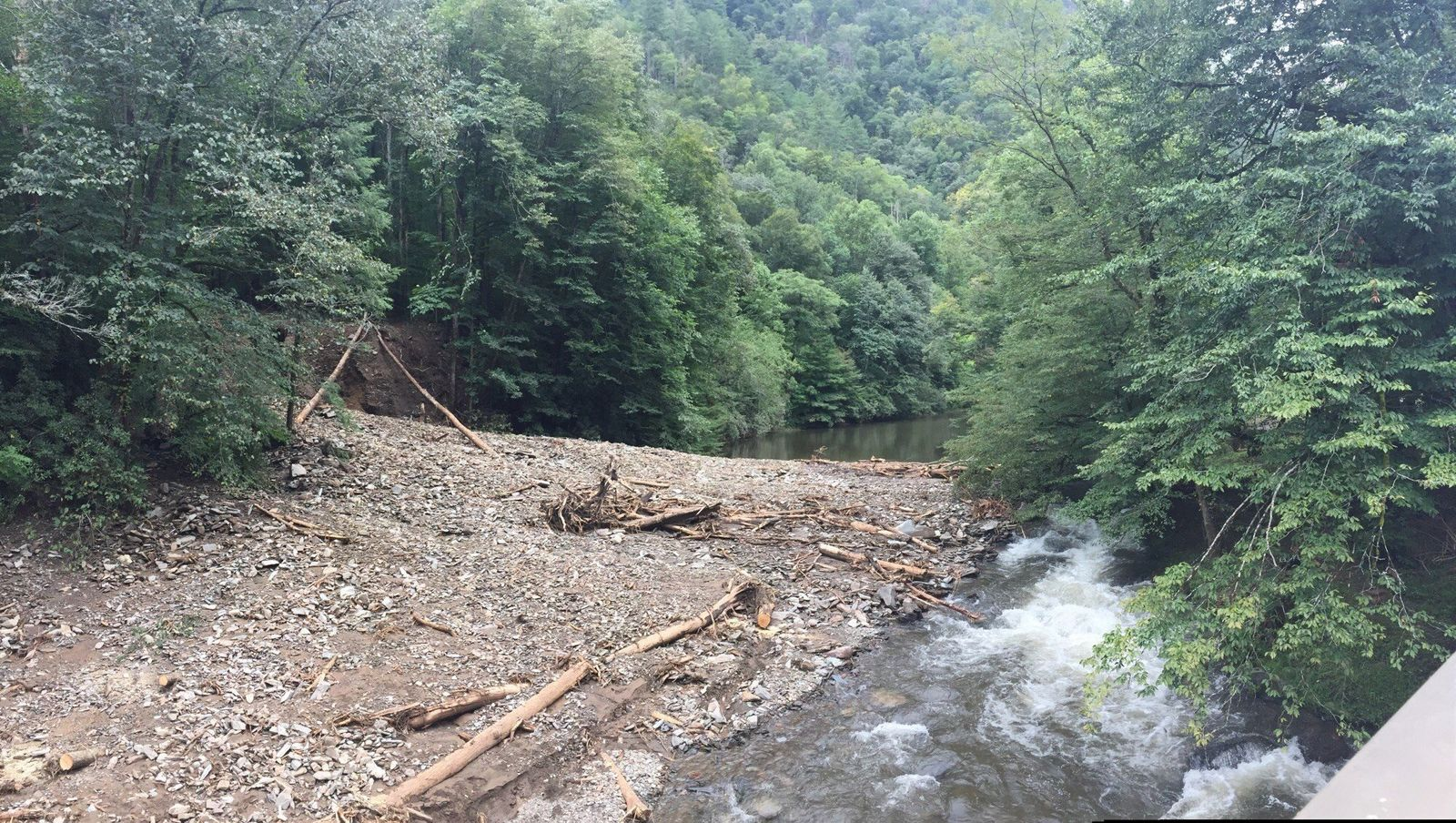 Due to hazardous conditions in the Nantahala Gorge from multiple landslides, the U.S. Forest Service is issuing an Emergency Closure Order prohibiting access to the Nantahala River. { }Photo credit: North Carolina Forest Service