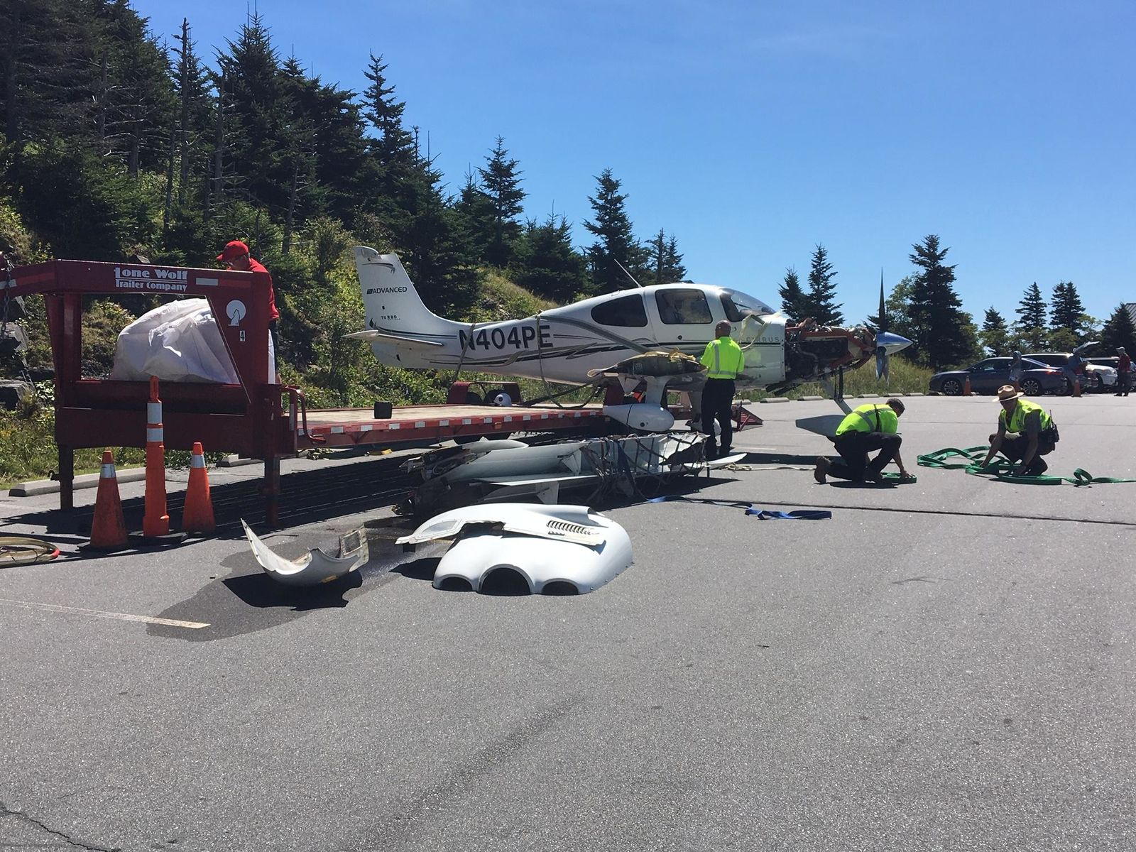 The plane has been removed from the crash site. Photo credit: WLOS staff