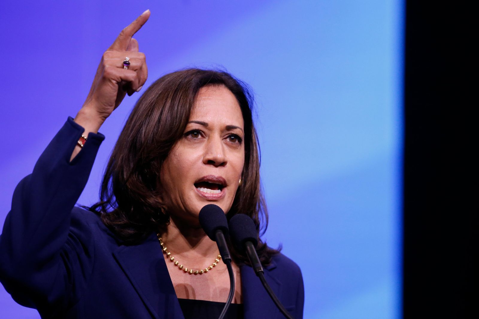 Democratic presidential candidate Sen. Kamala Harris, D-Calif., speaks during the New Hampshire state Democratic Party convention, Saturday, Sept. 7, 2019, in Manchester, NH. (AP Photo/Robert F. Bukaty)