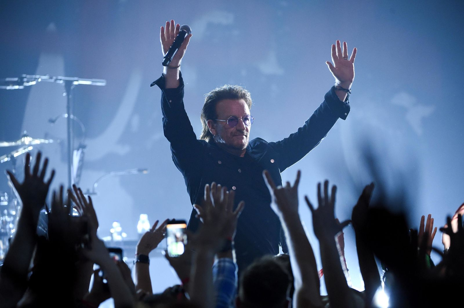 Singer Bono of U2 performs during a concert at the Apollo Theater hosted by SiriusXM on Monday, June 11, 2018, in New York. (Photo by Evan Agostini/Invision/AP