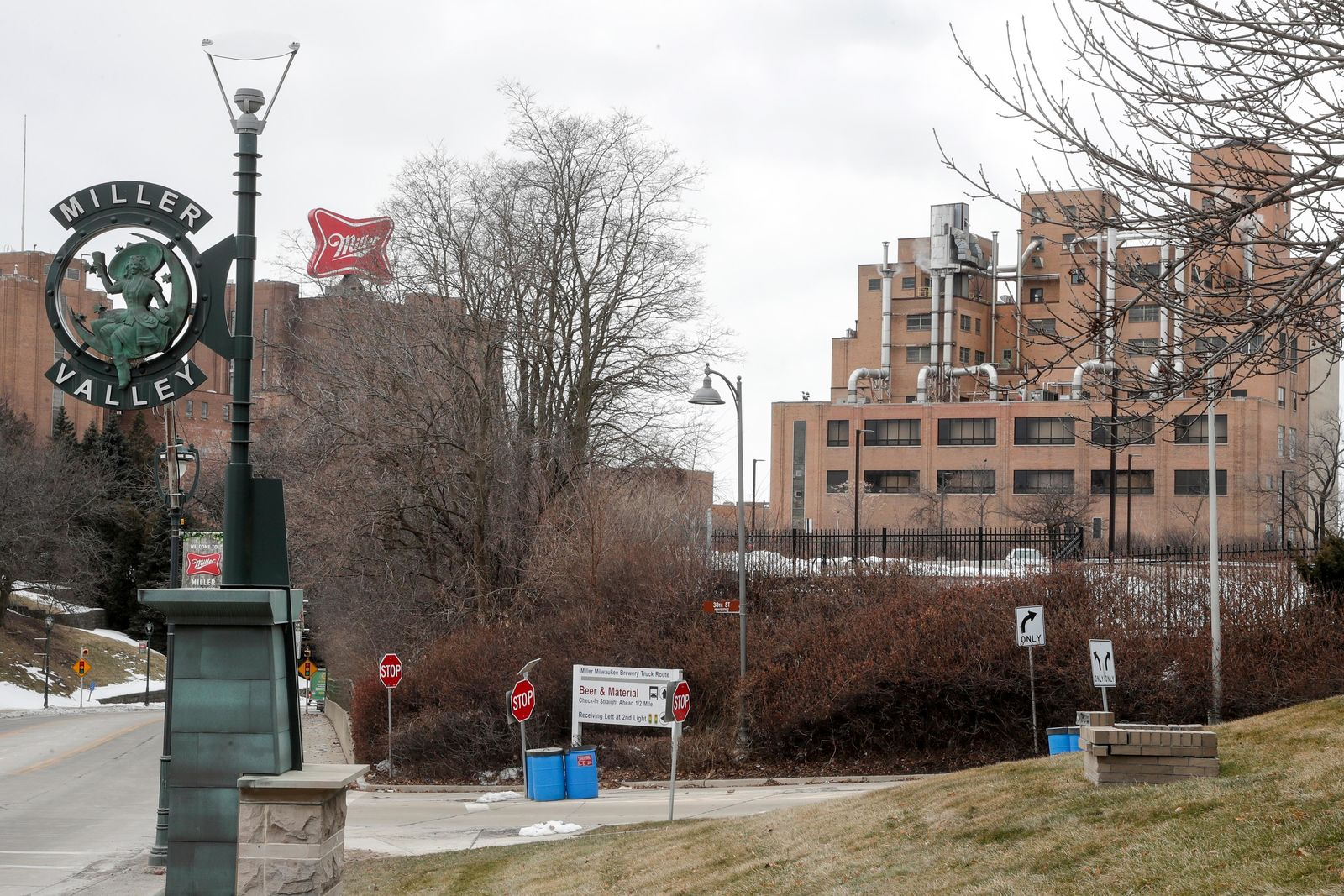 The Molson Coors facility is seen Thursday Feb. 27, 2020, in Milwaukee. An employee at the historic Molson Coors facility shot and killed five co-workers Wednesday afternoon and then turned the gun on himself. Six people, including the shooter, were killed on Wednesday, Feb. 26, 2020 at the facility. The brewery remained closed Thursday.  (AP Photo/Morry Gash)