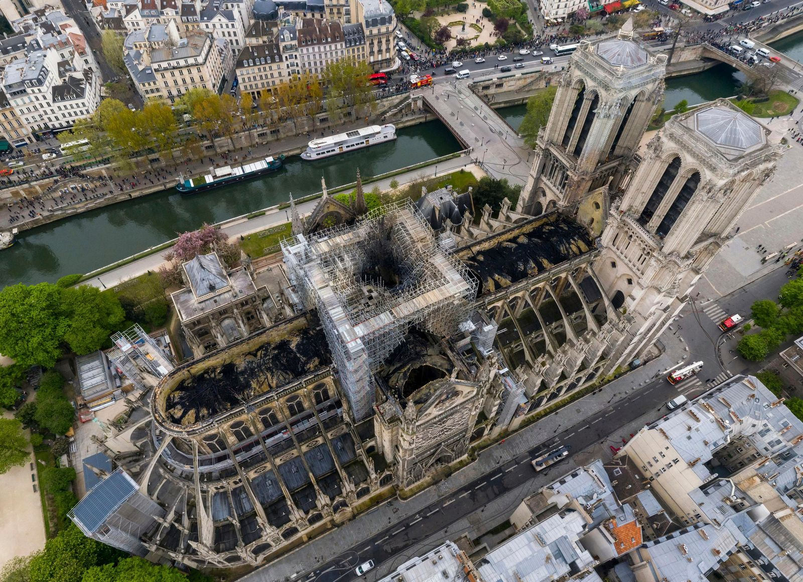 An image made available by Gigarama.ru on Wednesday April 17, 2019 shows an aerial shot of the fire damage to Notre Dame cathedral in Paris on Tuesday April 16. (Gigarama.ru via AP)