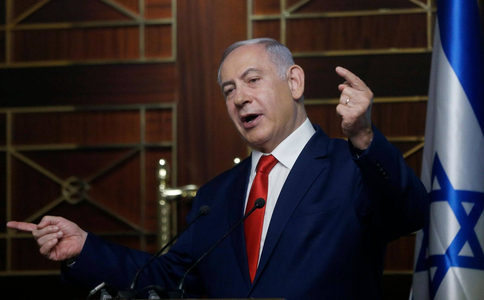 FILE - In this Tuesday, Aug. 20, 2019 file photo, Israeli Prime Minister Benjamin Netanyahu delivers a speech in Kyiv, Ukraine. (AP Photo/Efrem Lukatsky, File)