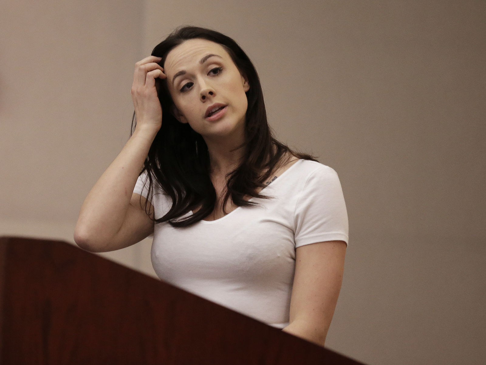 Chanel Preston, Adult Performer's Advocacy Committee President, speaks before the Occupational Safety & Health Standards Board during a hearing Thursday, Feb. 18, 2016, in Oakland, Calif. (AP Photo/Ben Margot)