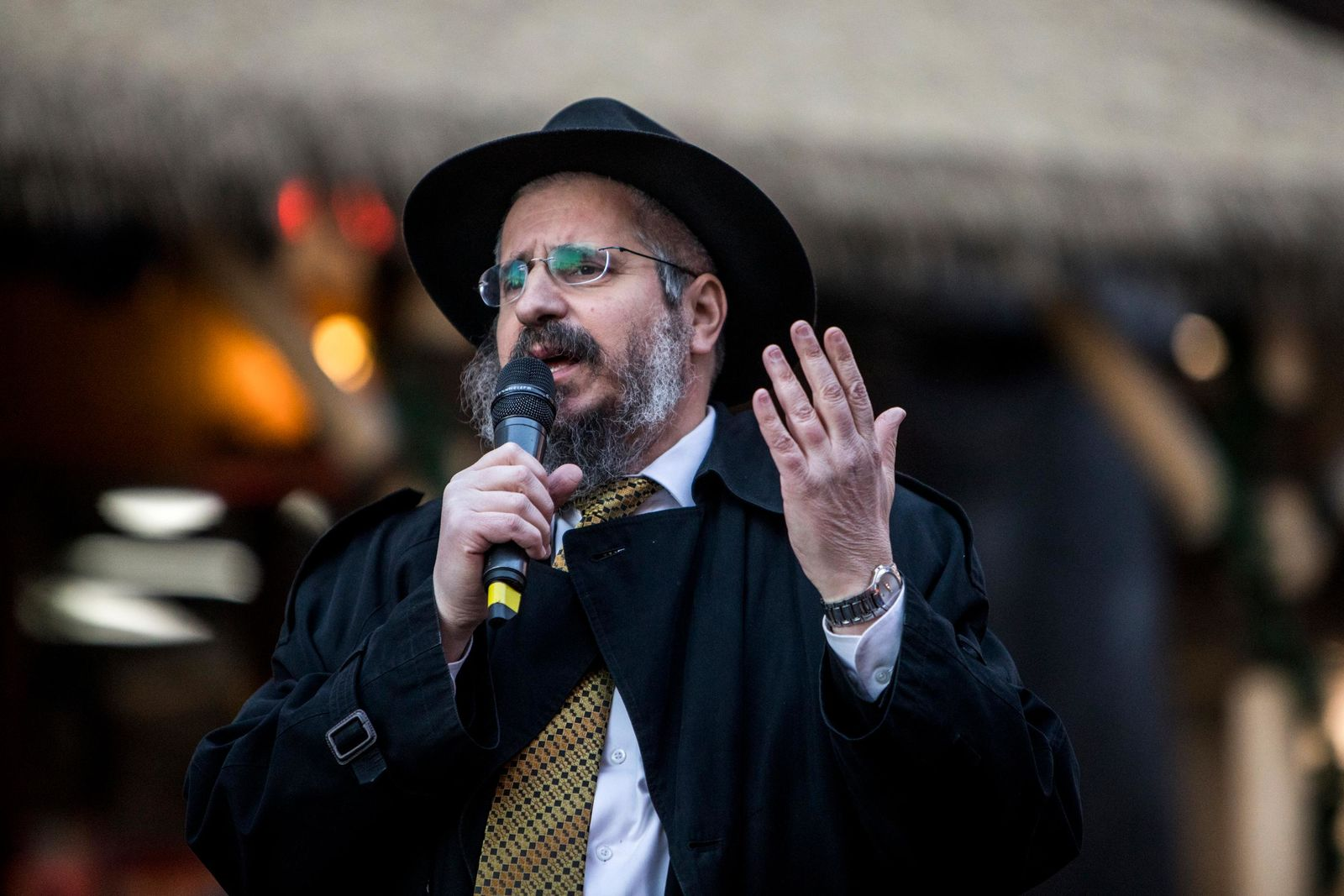 Rabbi Shea Harlig speaks before the lighting of the Grand Menorah in downtown Las Vegas on Sunday, Dec. 2. The ceremony featured a 20-foot Grand Menorah, which will remain on display throughout the Hanukkah season. CREDIT: Joe Buglewicz/Las Vegas News Bureau