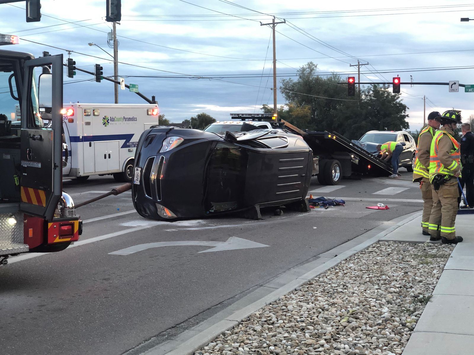 One SUV rolls at Meridian intersection in a multiple-vehicle crash. (Chase Duckworth)