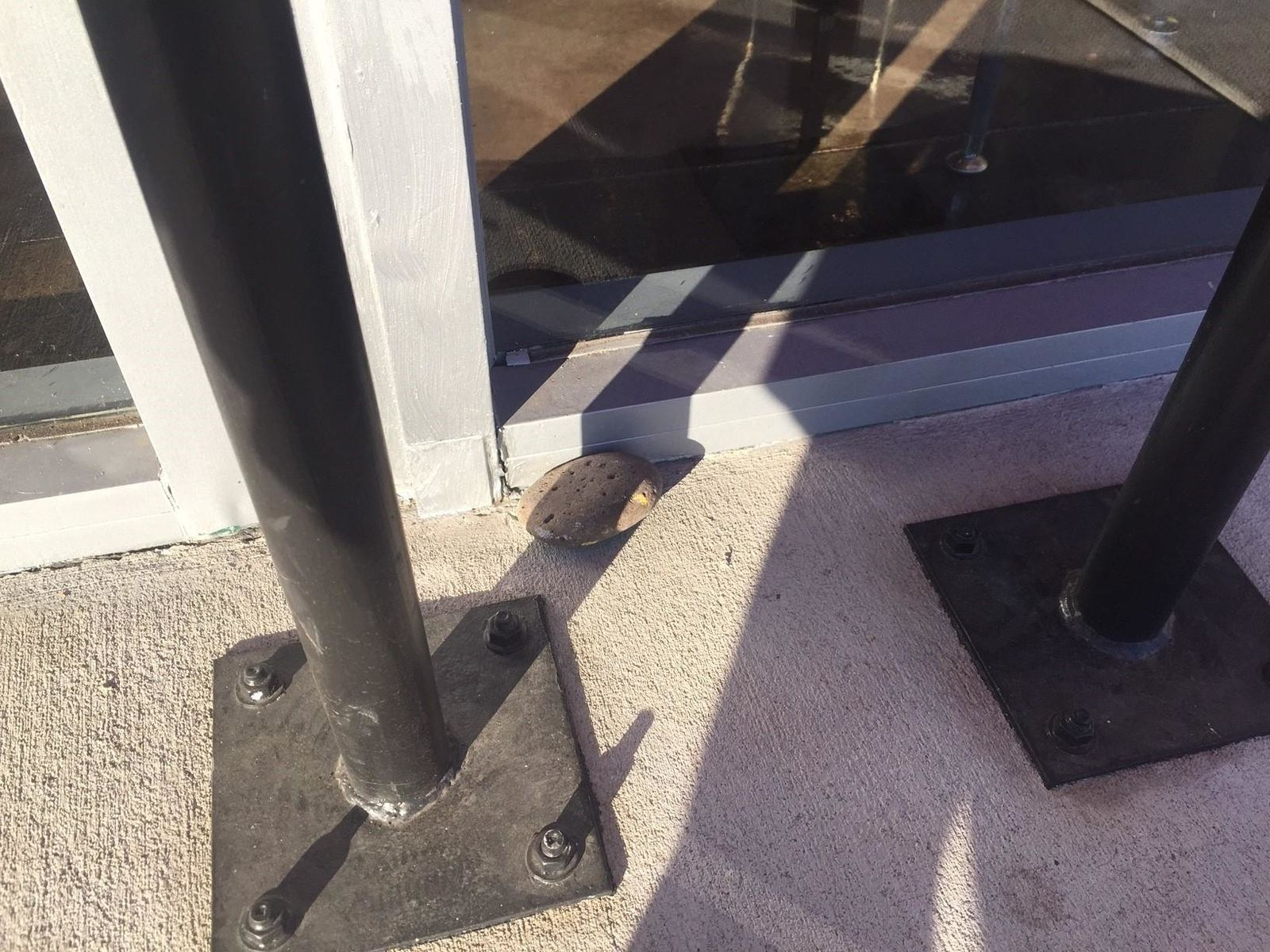 Chad West, co-president of Westraunt Concepts, said the man threw a rock and shattered the front window. The window has since been repaired. (Courtesy Westraunt Concepts)