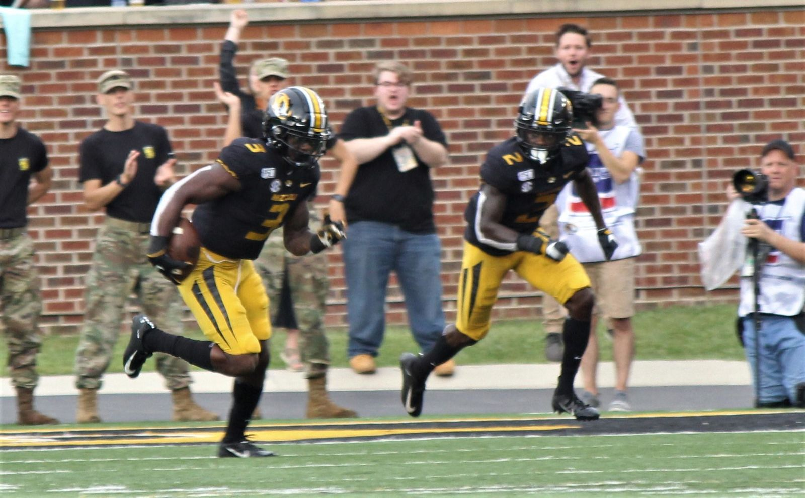 Senior defensive back Ronnell Perkins takes an interception 100 yards for a touchdown Saturday afternoon at Memorial Stadium in the Tigers' 34-14 win over South Carolina. (Noah Brown/KRCG 13)