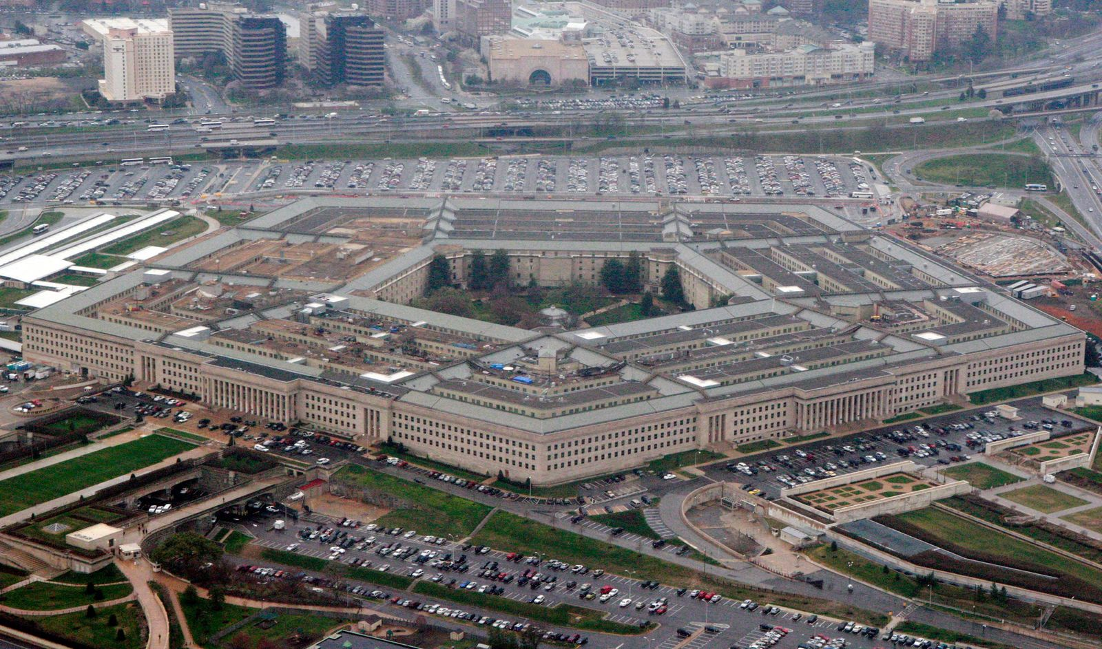 FILE - In this March 27, 2008 file photo, an aerial view of the Pentagon is seen in Washington. (AP Photo/Charles Dharapak, File)
