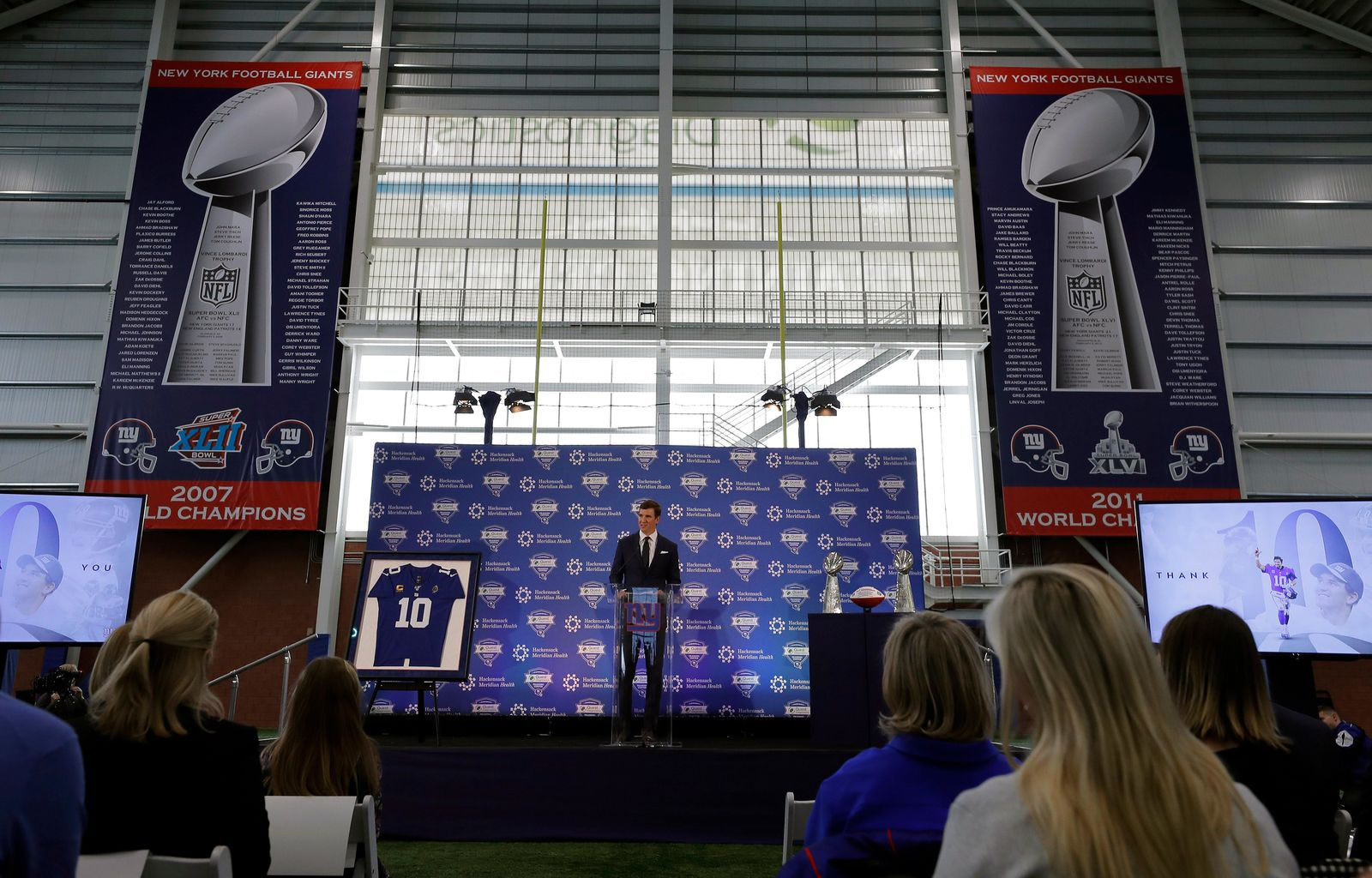 New York Giants quarterback Eli Manning announces his retirement on Friday, Jan. 24, 2020, in East Rutherford, N.J. (AP Photo/Adam Hunger)