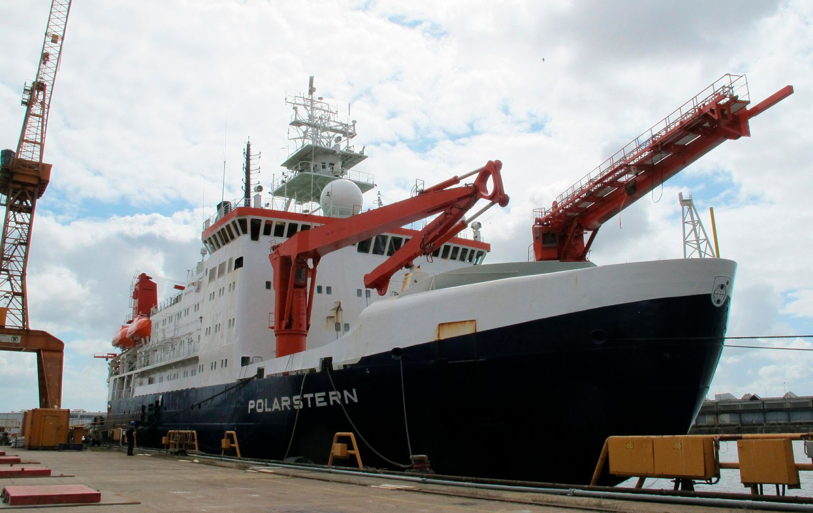 FILE - In this Wednesday, July 3, 2019 file photo the German Arctic research vessel 'Polarstern' is docked for maintenance in Bremerhaven, Germany.{ } (AP Photos/Frank Jordans, file)