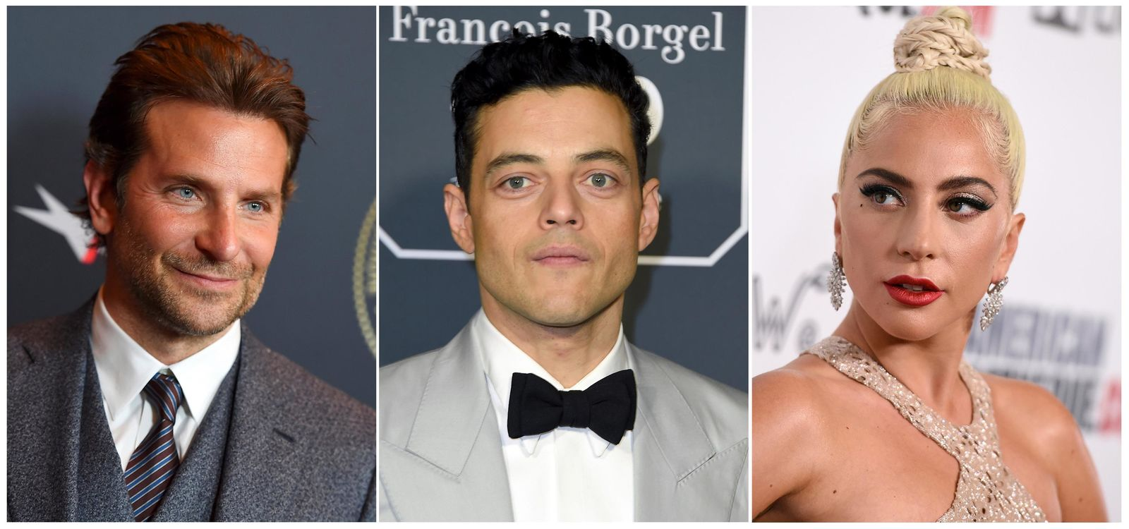 This combination photo shows actors, from left, Bradley Cooper, Rami Malek and Lady Gaga who are among the presenters announced for Sunday's Screen Actors Guild Awards. Other presenters announced Wednesday by the actors union include Chadwick Boseman, Sam Elliott, Constance Wu, John David Washington, Adam Driver, Michelle Yeoh, Ken Jeong, Henry Golding and Angela Bassett. Ben Hardy, Gwilym Le and Joe Mozzello round out the list of first presenters. Megan Mullally will host the 25th SAG Awards that will air on TNT and TBS. (AP Photo)