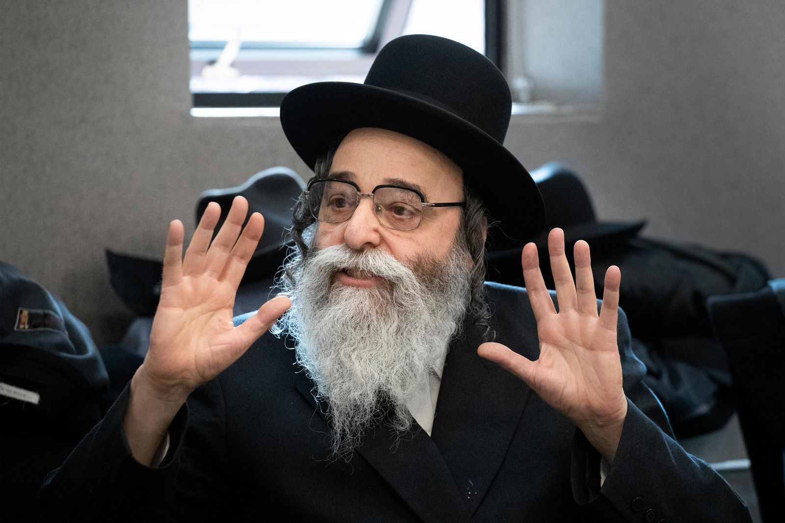 Rabbi David Niederman speaks during a meeting with Attorney General William Barr at the Boro Park Jewish Community Council, Tuesday, Jan. 28, 2020 in New York. (AP Photo/Mark Lennihan)