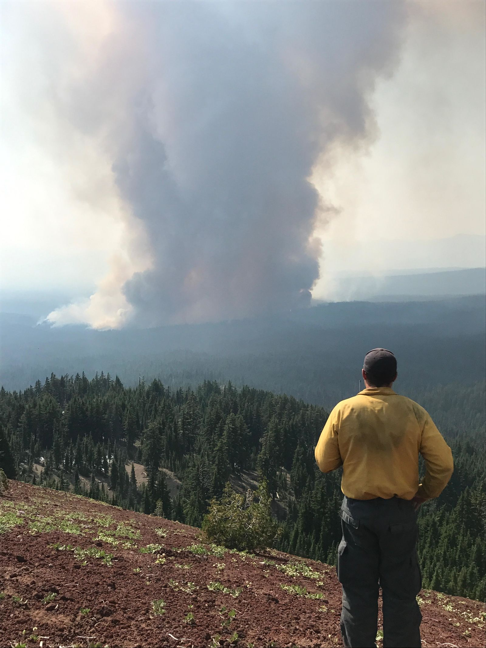 A Field Observer watches the Spruce Lake Fire near the Watchman Lookout along the west rim of Crater Lake (NW IMT 13 Photo by Robert Scoggin)
