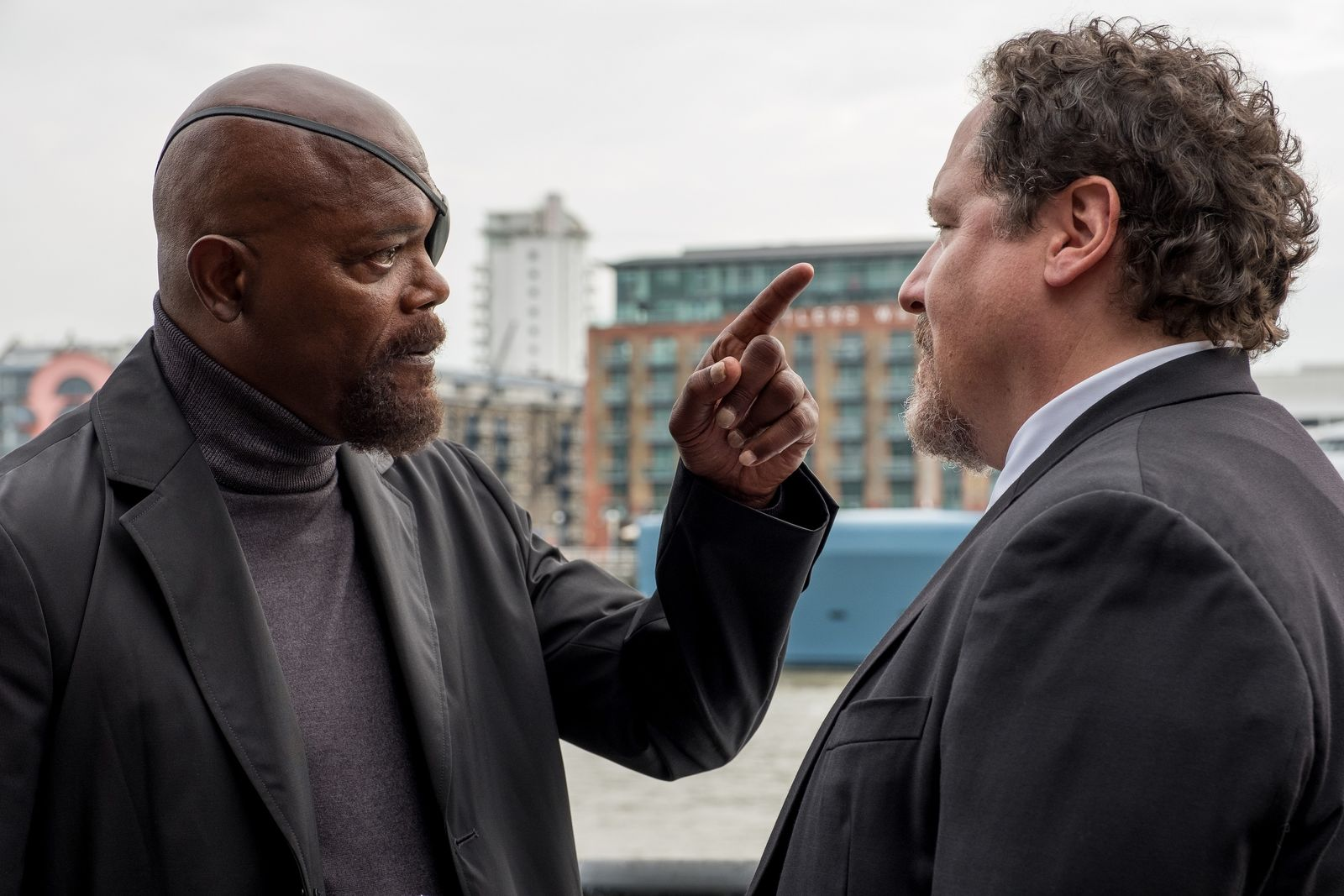 Samuel L. Jackson and Jon Favreau in Columbia Pictures' SPIDER-MAN: ™ FAR FROM HOME.{ }(Photo: Sony)