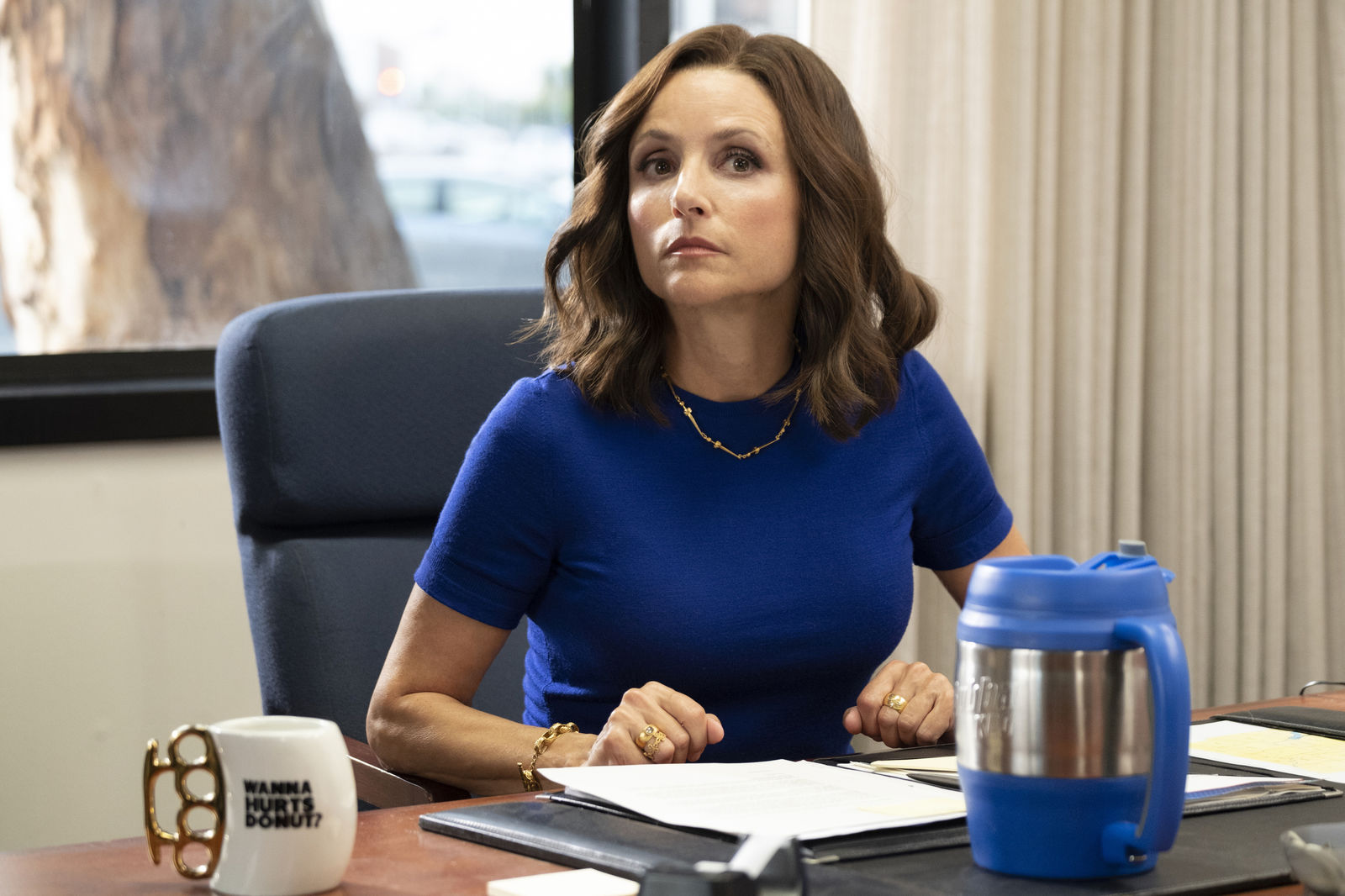 "This image released by HBO shows Julia Louis-Dreyfus in a scene from ""Veep."" The program iss nominated for an Emmy Award for outstanding comedy series. Louis-Dreyfus is also nominated for best actress in a comedy series. (HBO via AP)"