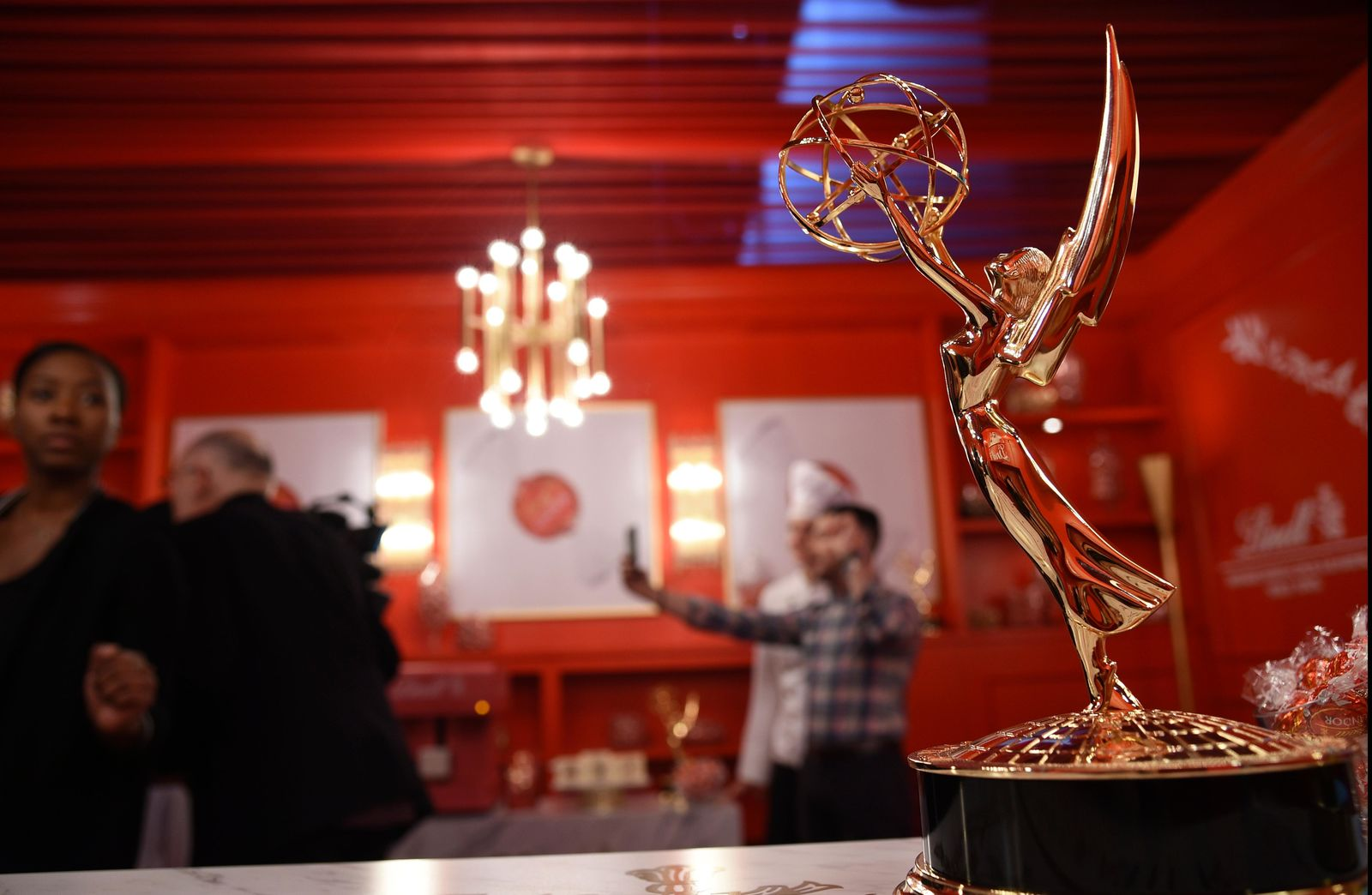 An Emmy Award is pictured inside the Lindt Chocolate Lounge backstage during Press Preview Day for Sunday's 71st Primetime Emmy Awards, Thursday, Sept. 19, 2019, at the Microsoft Theater in Los Angeles. (Photo by Chris Pizzello/Invision/AP)