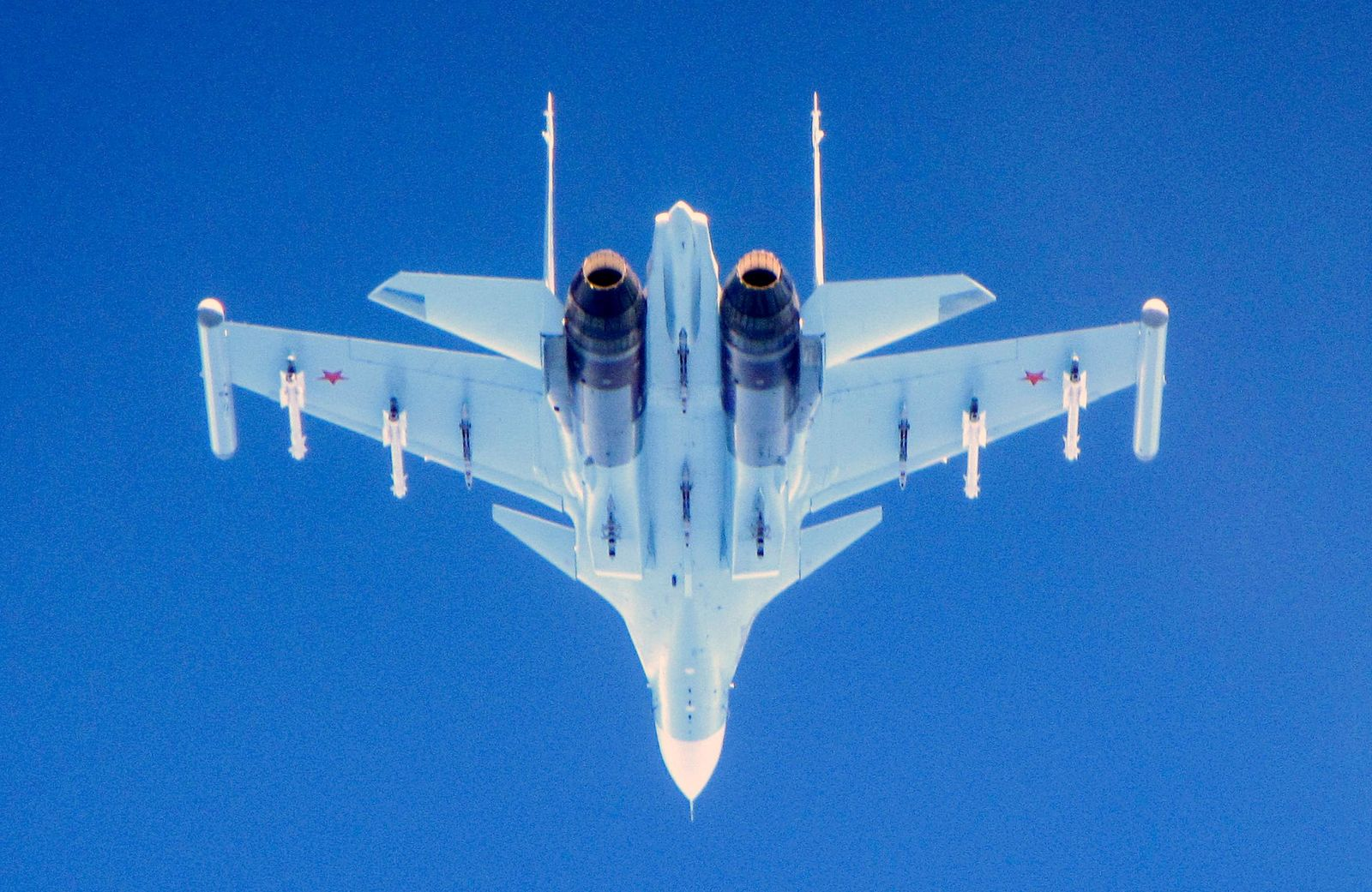 CAPTION CORRECTS AIRCRAFT NAME - In this photo  taken on Saturday, June 15, 2019, a Russian Su-30 Flanker fighter flies over the Baltic Sea.{ } (UK Ministry of Defence via AP)