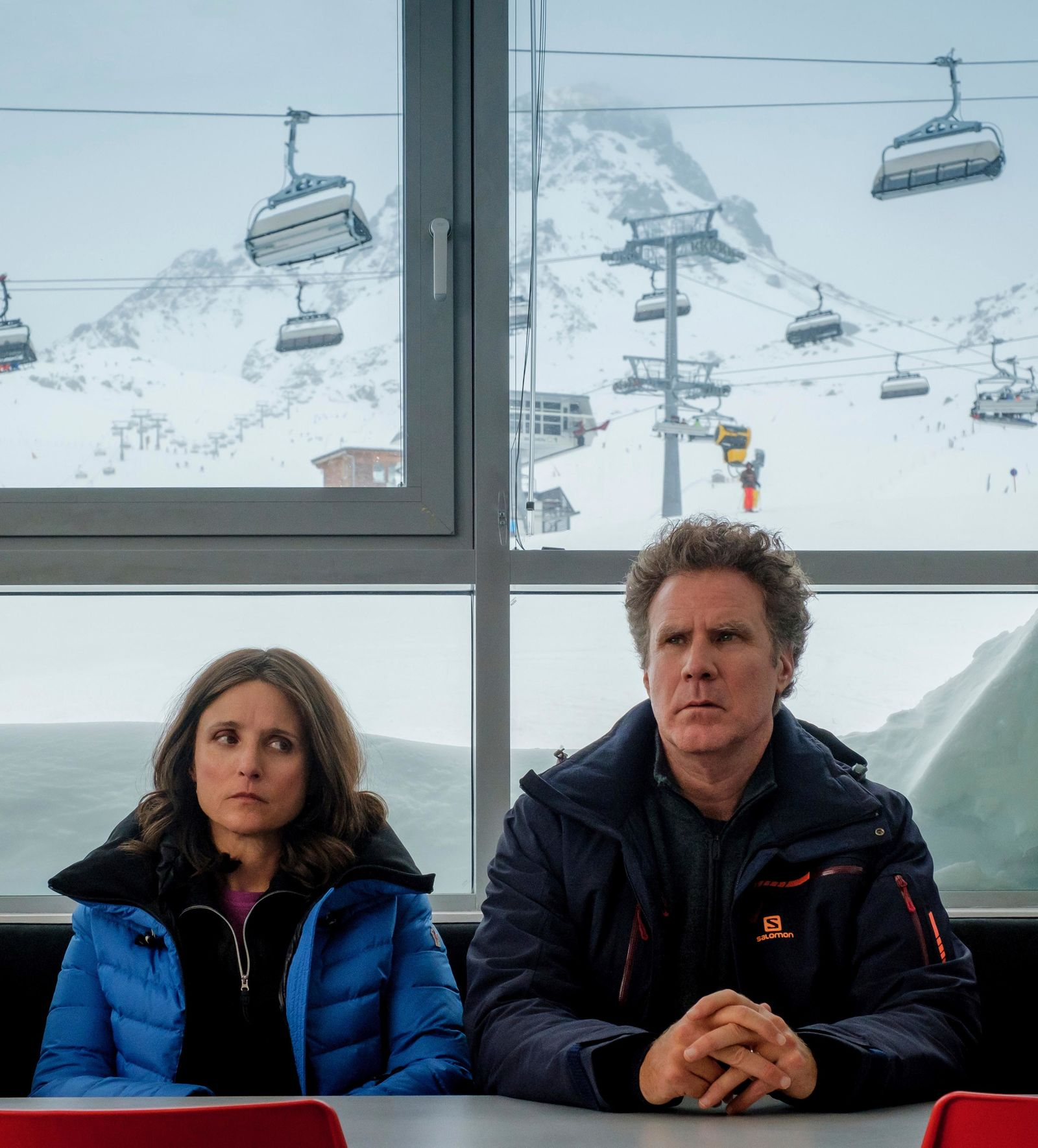 "This image released by Fox Searchlight shows Julia Louis-Dreyfus, left, and Will Ferrell in a scene from ""Downhill,"" a remake of the Swedish film ""Force Majeure.""  (Jaap Buitendijk/Fox Searchlight via AP)"