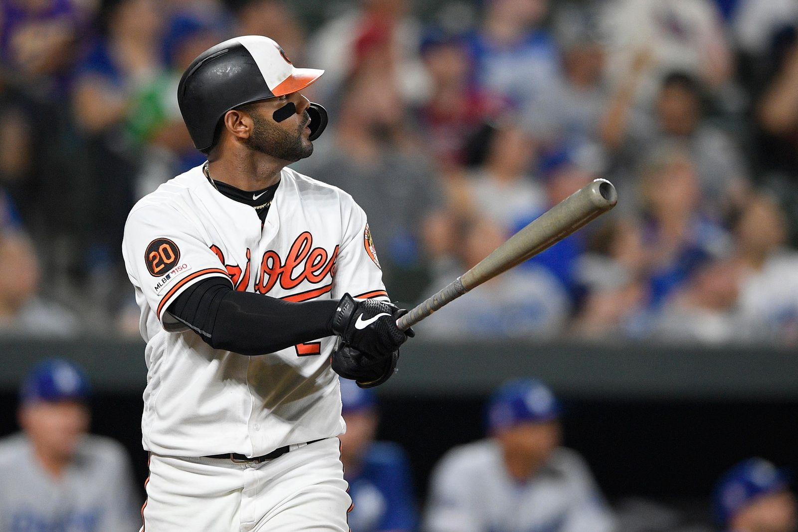 Baltimore Orioles' Jonathan Villar watches his three-run home run during the seventh inning of a baseball game against the Los Angeles Dodgers on Wednesday, Sept. 11, 2019, in Baltimore. The Orioles won 7-3. (AP Photo/Nick Wass)