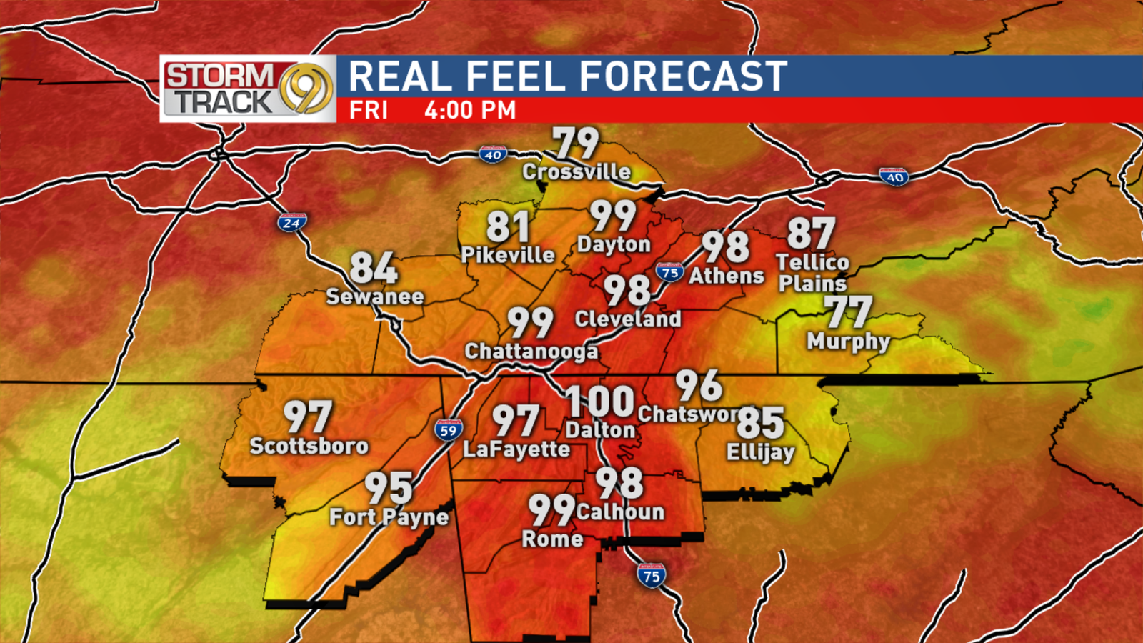 Friday Afternoon Heat Index