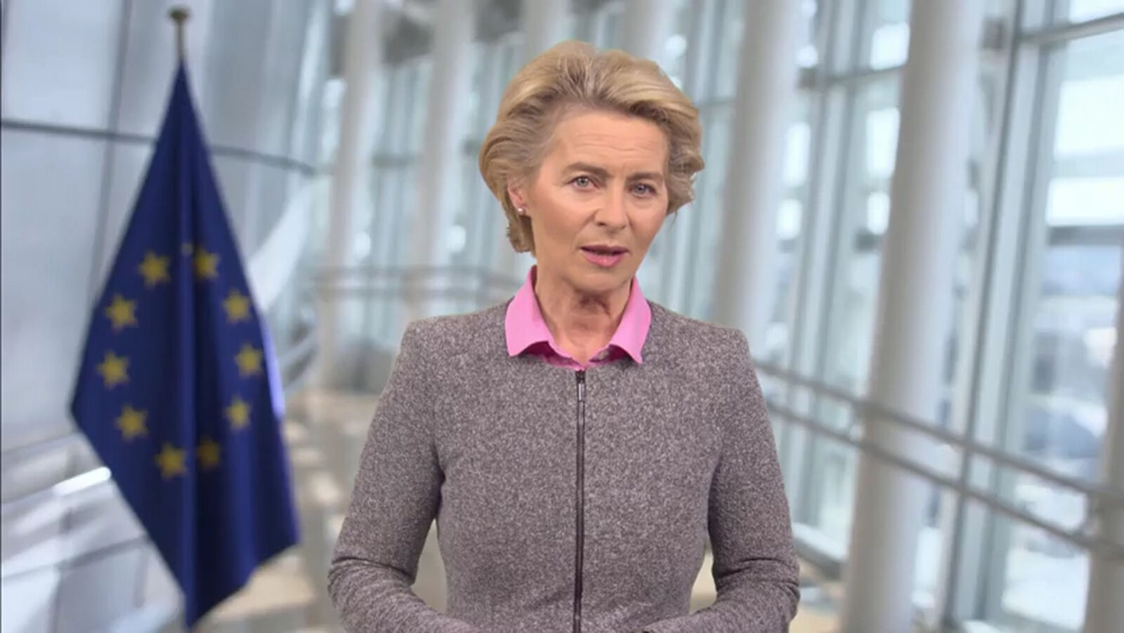 FILE: In this screengrab, European Commission President Ursula von der Leyen speaks as part of SWITCH GREEN during day 1 of the Greentech Festival at Kraftwerk Mitte aired on September 16, 2020 in Berlin, Germany. T(Photo by Getty Images/Getty Images for Greentech Festival)