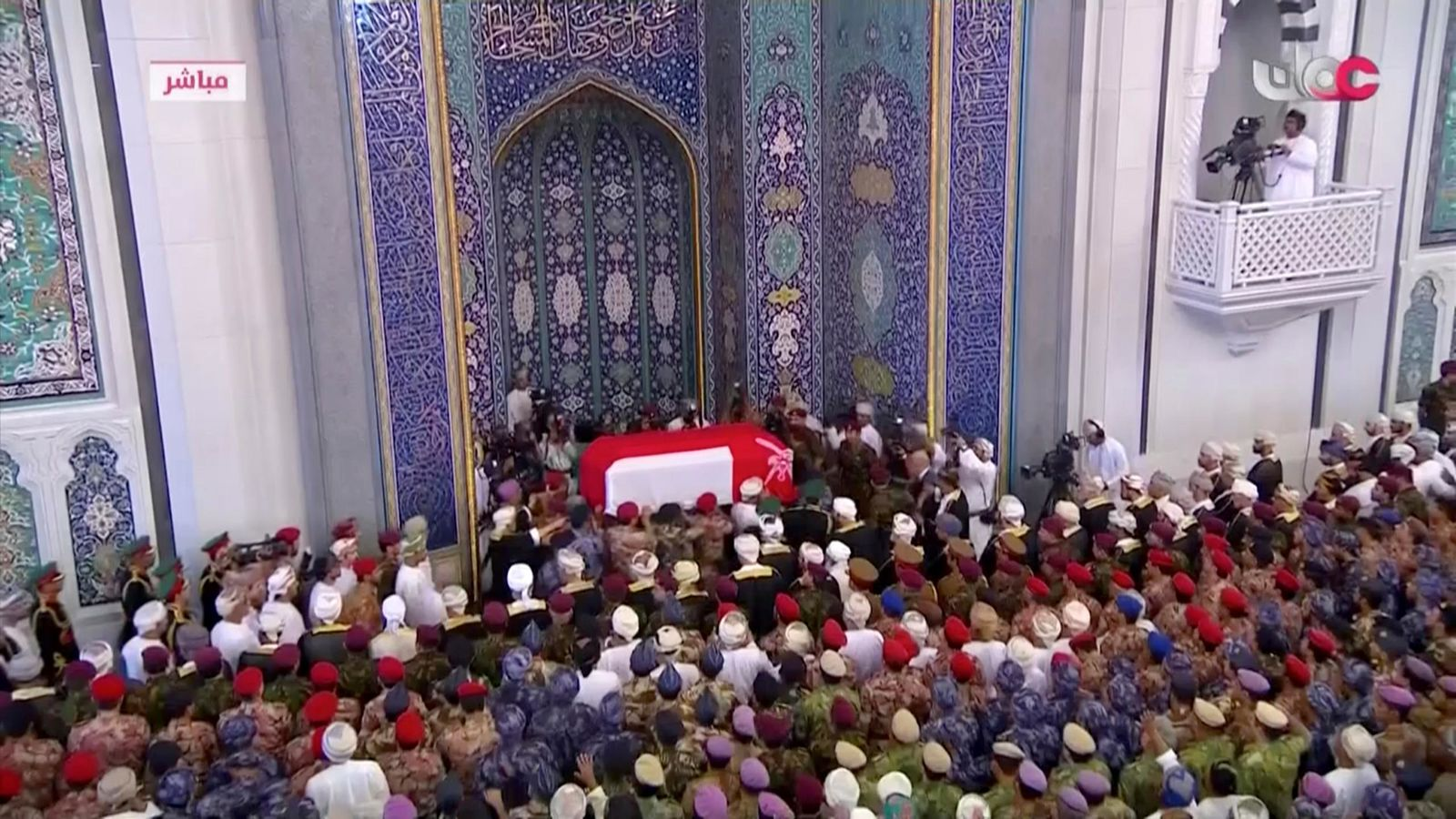 This image made from video shows the coffin of Oman's Sultan Qaboos bin Said, arrives at Sultan Qaboos Grand Mosque in Muscat, Oman, Saturday, Jan. 11, 2020.  Sultan Qaboos bin Said, the Mideast's longest-ruling monarch who seized power in a 1970 palace coup and pulled his Arabian sultanate into modernity while carefully balancing diplomatic ties between adversaries Iran and the U.S., has died. He was 79. (Oman TV via AP)