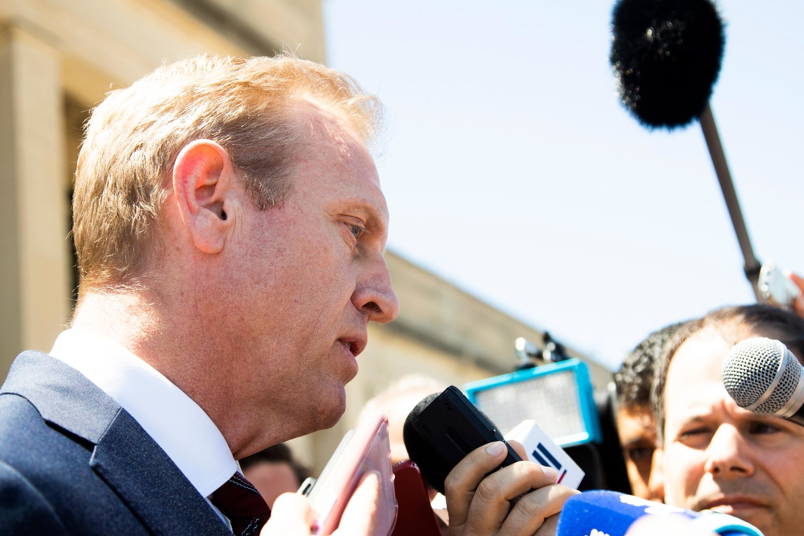 Acting Secretary of Defense Patrick Shanahan speaks about the situation in the Persian Gulf region during as he waits for the arrival of Portuguese Minister of National Defense Joao Cravinho, at the Pentagon, Friday, June 14, 2019. (AP Photo/Manuel Balce Ceneta)