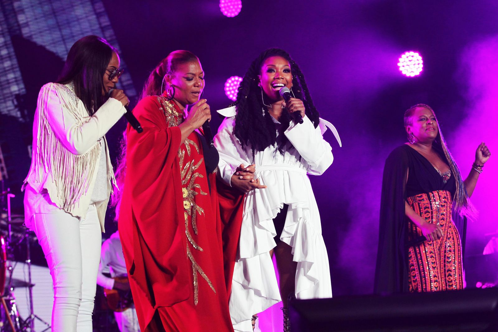 Queen Latifah, MC Lyte, Brandy, and Yo-Yo perform at the 2018 Essence Festival at the Mercedes-Benz Superdome on Saturday, July 7, 2018, in New Orleans. (Photo by Donald Traill/Invision/AP)