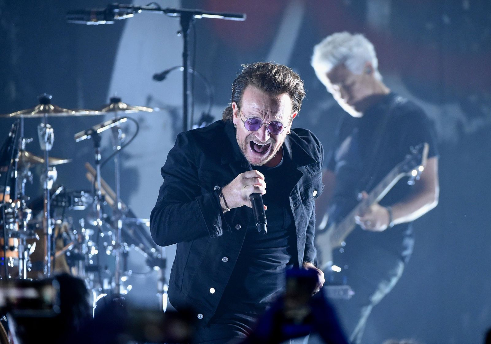 FILE - In this June 11, 2018 file photo,  Bono of U2 performs during a concert at the Apollo Theater in New York.{ } (Photo by Evan Agostini/Invision/AP, File)
