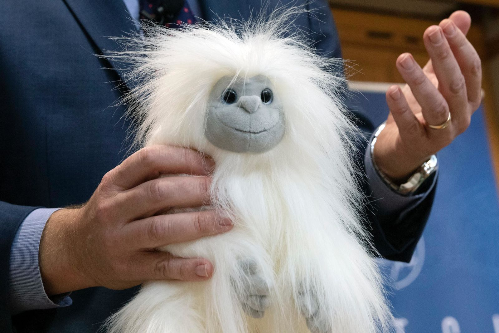 James Swartz, director of World Against Toys Causing Harm, talks about the dangers of a yeti teddy bear during a news conference unveiling the organization's list of worst toys for the holidays, Tuesday, Nov. 19, 2019, in Boston. (AP Photo/Michael Dwyer)