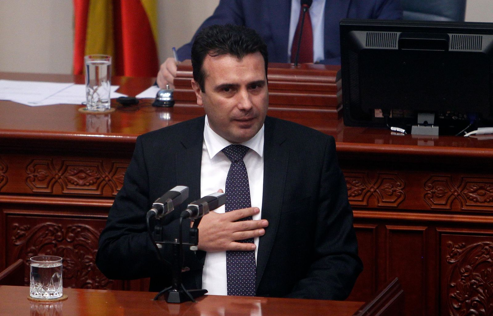 Macedonian Prime Minister Zoran Zaev speaks during a session of the Macedonian Parliament in the capital Skopje, Friday, Jan. 11, 2019. Macedonia has fulfilled its part of a deal that will pave its way to NATO membership and normalize relations with neighboring Greece, after lawmakers approved constitutional changes that will rename the country North Macedonia. (AP Photo/Boris Grdanoski)
