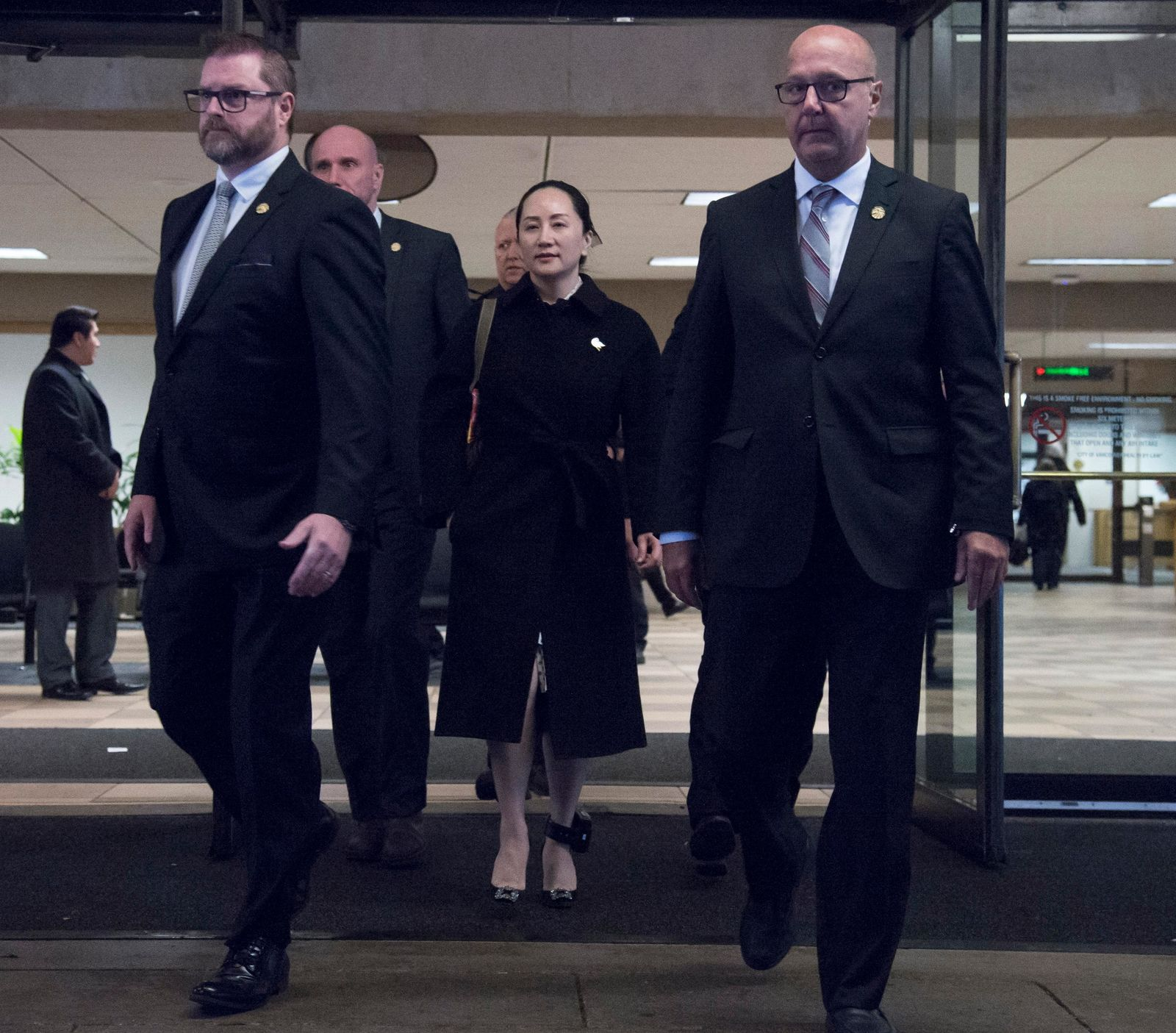 Meng Wanzhou, chief financial officer of Huawei, leaves B.C. Supreme Court in Vancouver, Thursday, January 23, 2020. (Jonathan Hayward/The Canadian Press via AP)