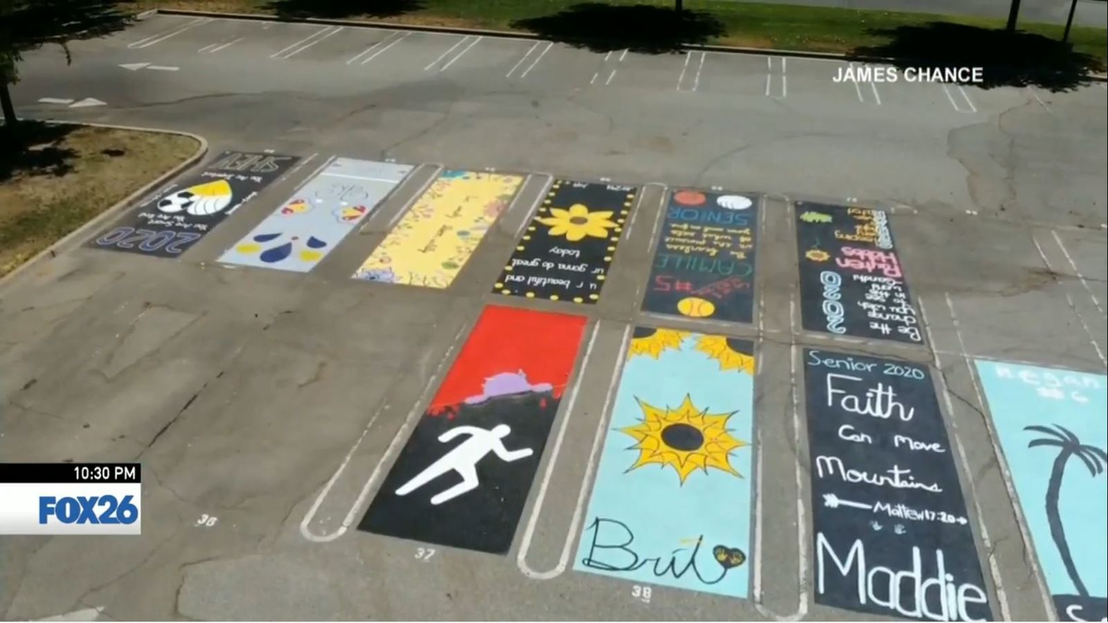 Drone shot of parking spaces painted by students (Courtesy James Chance)<p></p>