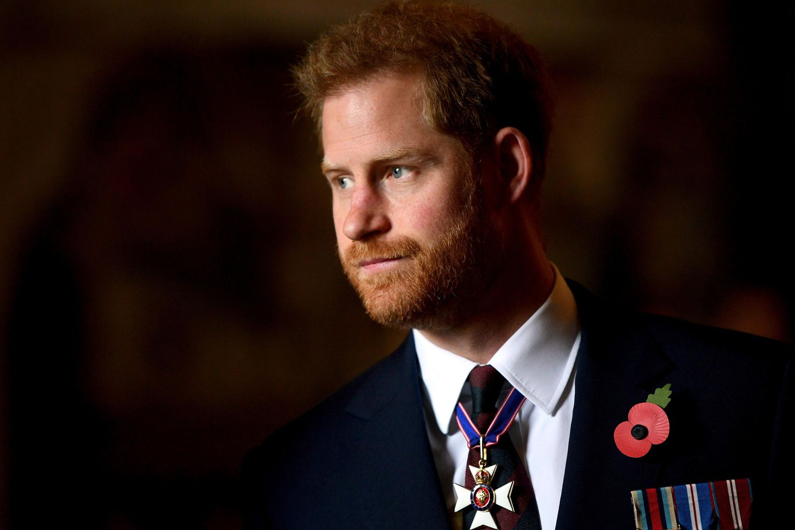 Britain's Prince Harry, the Duke of Sussex leaves the Anzac Day Service of Commemoration and Thanksgiving at Westminster Abbey, in London, Thursday April 25, 2019. (Victoria Jones/Pool Photo via AP)
