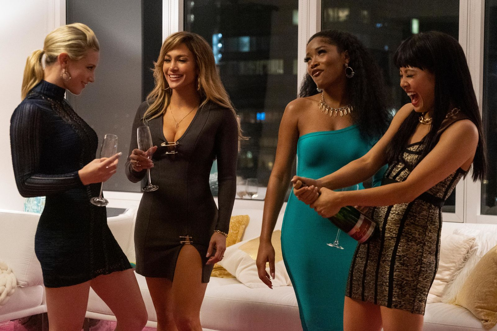 Lili Reinhart, Jennifer Lopez, Keke Palmer, and Constance Wu star in HUSTLERS{ }(Photo: STX Entertainment)