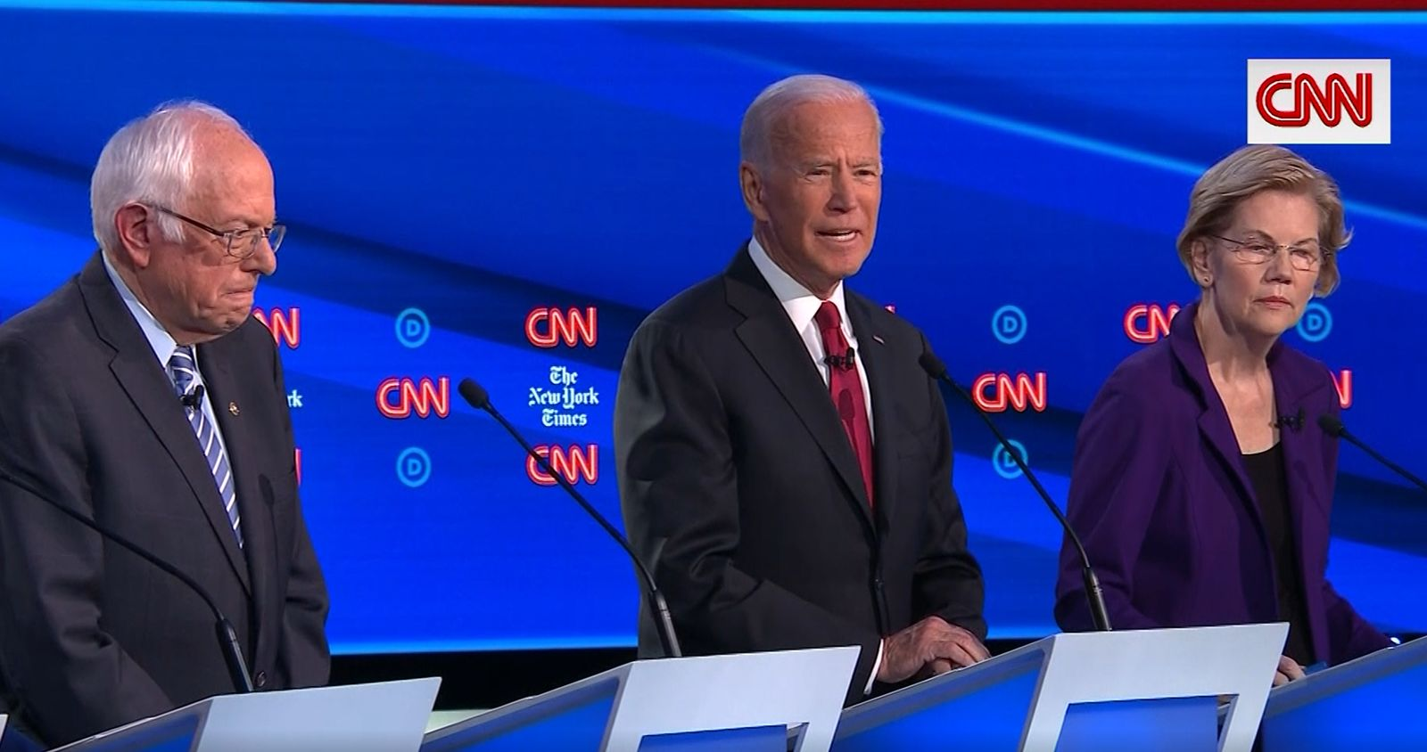 Sen. Elizabeth Warren faced tough questions from moderators and fellow candidates at a 2020 primary debate in Ohio on Oct. 15, 2019. (CNN Newsource)