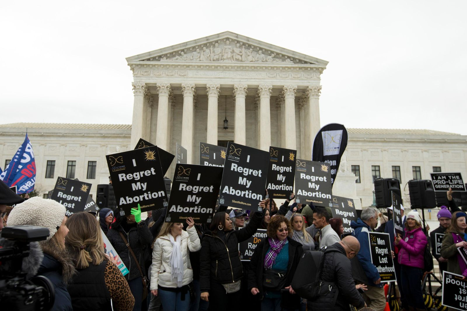 Anti-abortion activists rally outside of the U.S. Supreme Court, during the March for Life in Washington, Friday, Jan. 24, 2020. (AP Photo/Jose Luis Magana)