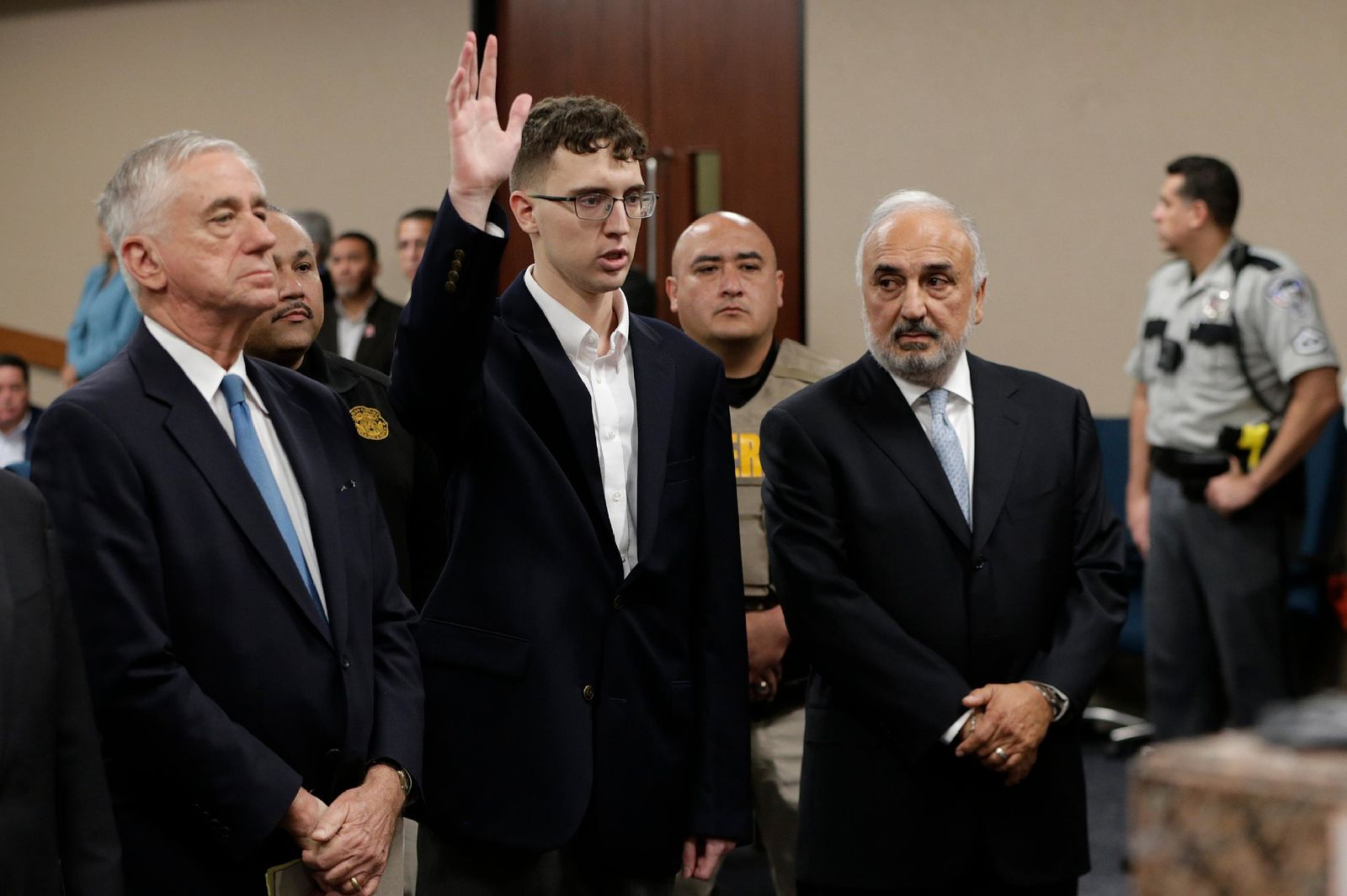 El Paso Walmart shooting suspect Patrick Crusius is arraigned Thursday, Oct. 10, 2019 in the 409th state District Court with Judge Sam Medrano presiding. Crusius, 21, male from Allen, Texas, stands accused of killing 22 and injuring 25 in the Aug. 3, 2019, mass shooting at an East El Paso Walmart in the seventh deadliest mass shooting in modern U.S. history and third deadliest in Texas. (Mark Lambie/The El Paso Times via AP, Pool)
