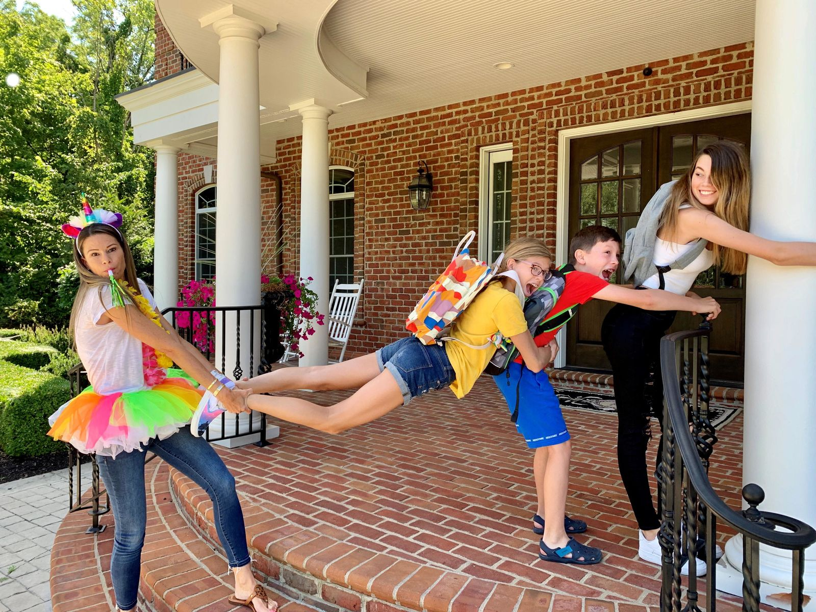 One mom in Central Ohio is getting national recognition for her hilarious back to school photos that show her celebrating the new school year. (Courtesy: Leslie Kemelgor){ }