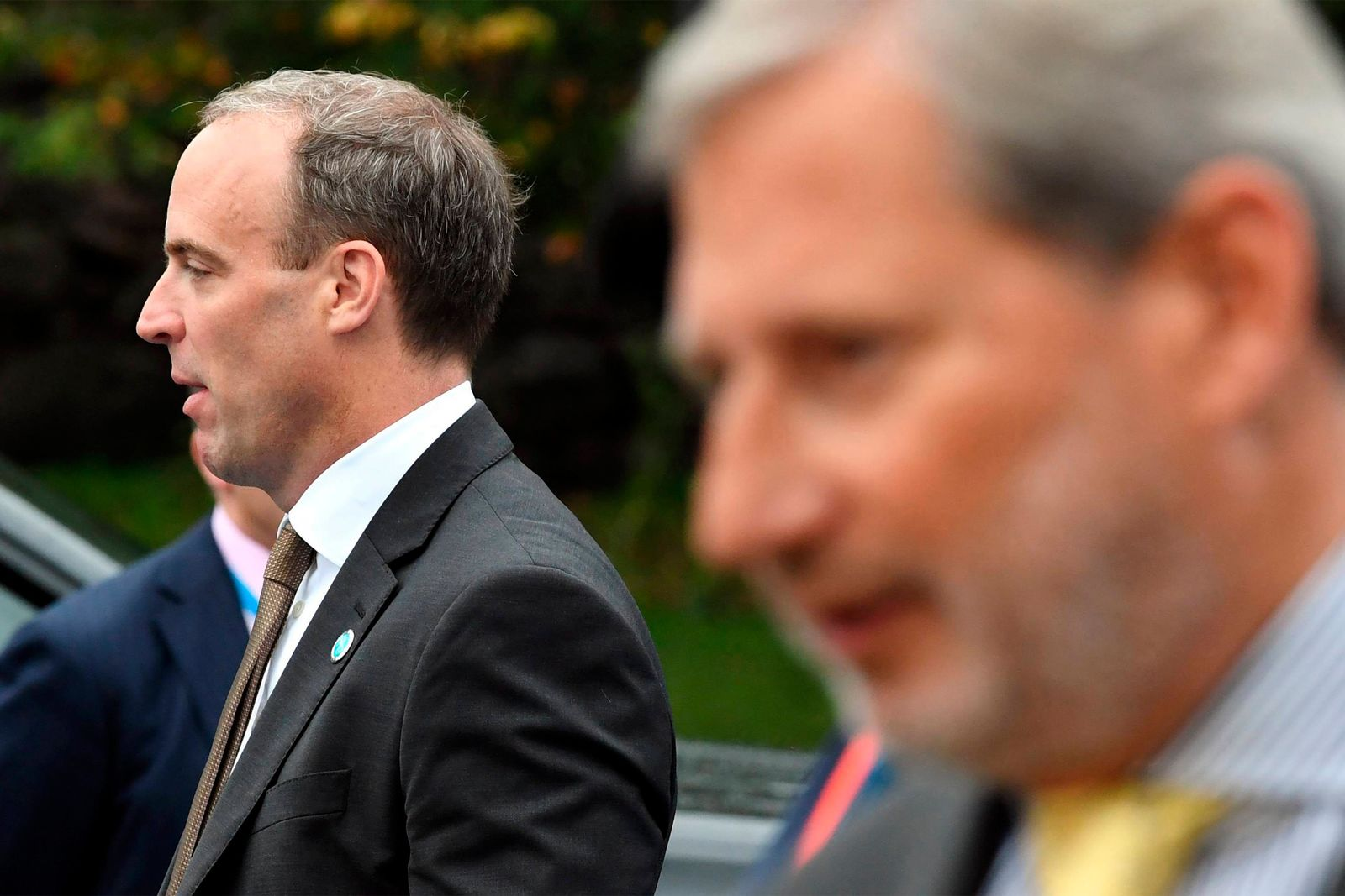 British Foreign Secretary Dominic Raab, left, speaks to the media as he arrives to the Informal Meeting of EU Foreign Ministers in Helsinki, Finland, on Friday, Aug. 30, 2019.{ } (Jussi Nukari/Lehtikuva via AP)