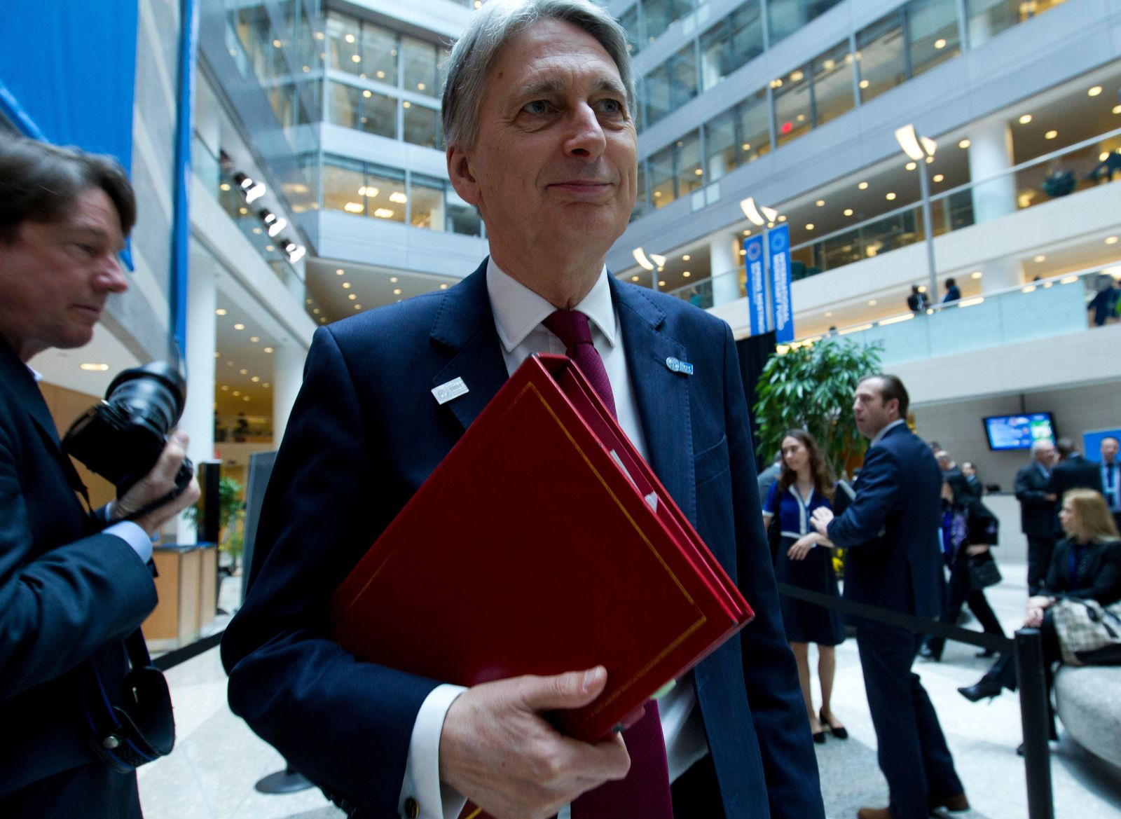 U.K. Chancellor of the Exchequer Philip Hammond attends the International Monetary and Financial Committee (IMFC) conference, at the World Bank/IMF Spring Meetings in Washington, Saturday, April 13, 2019. (AP Photo/Jose Luis Magana)