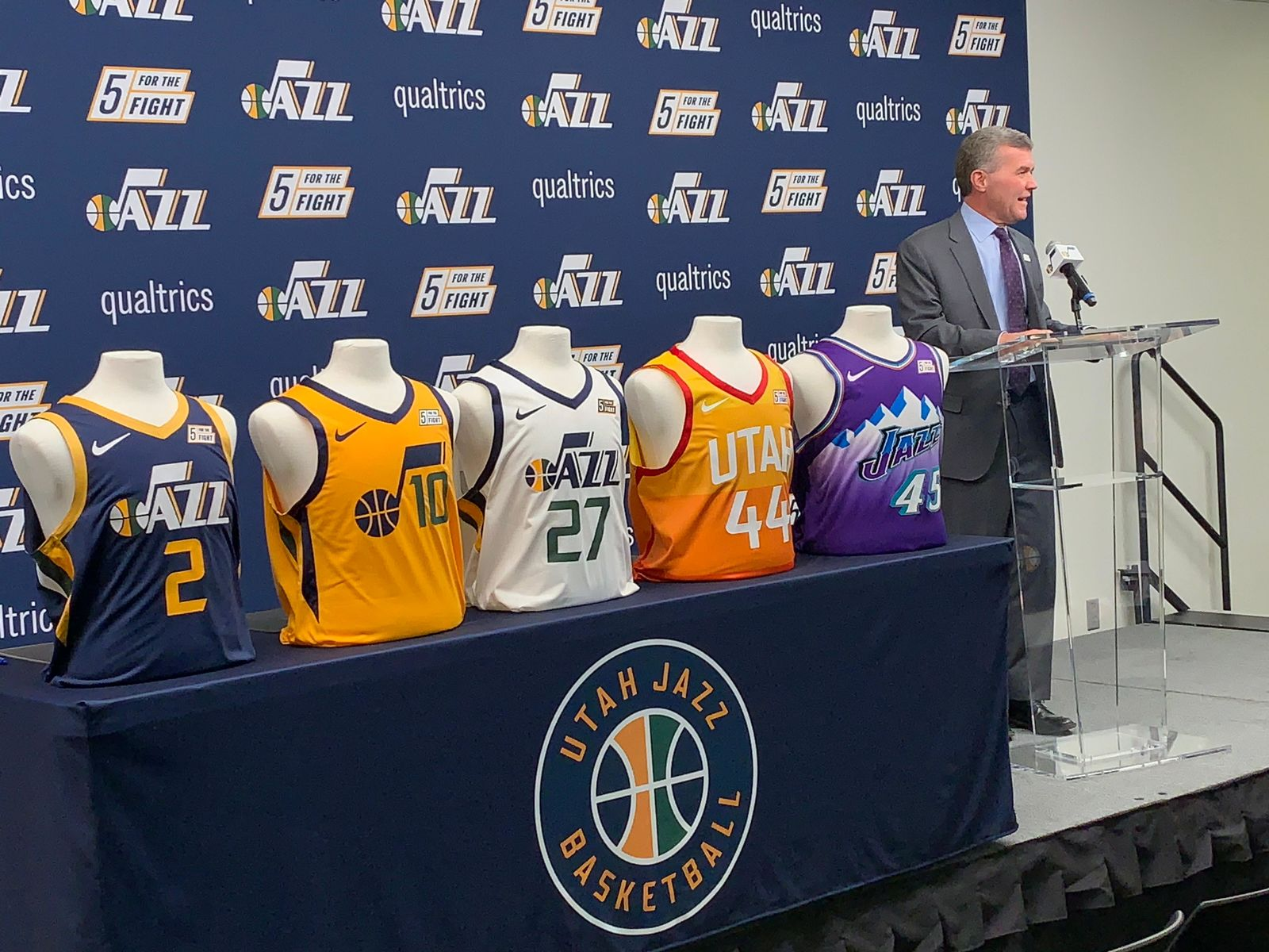 President of the Utah Jazz Jim Olson speaks at a press conference on Monday, October 21, 2019. (Photo: Adam Forgie, KUTV)<p></p><p></p>